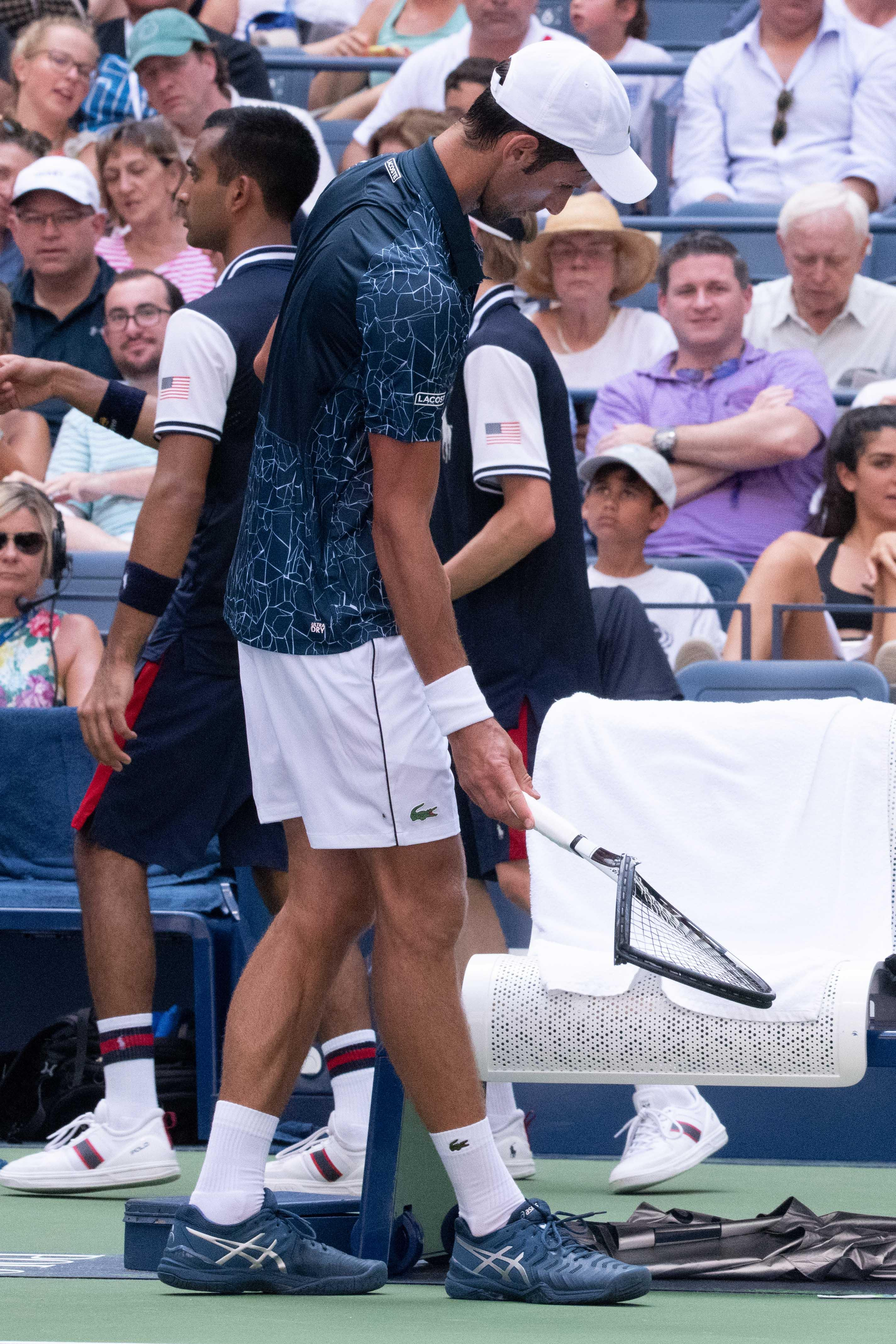 Novak Djokovic smashed his racket in frustration during his US Open win