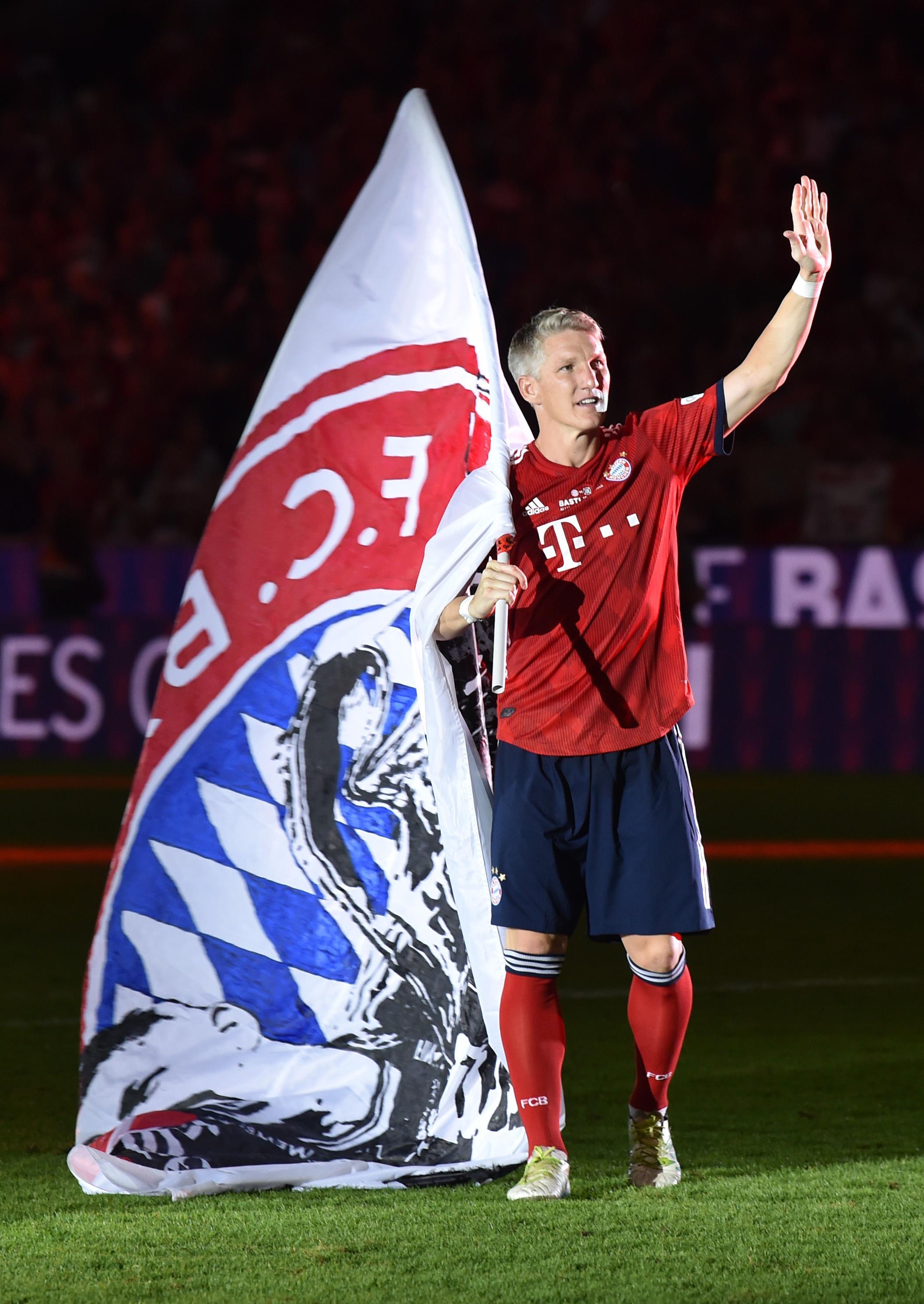 Bastian Schweinsteiger gave an emotional address to fans at a packed Allianz Arena