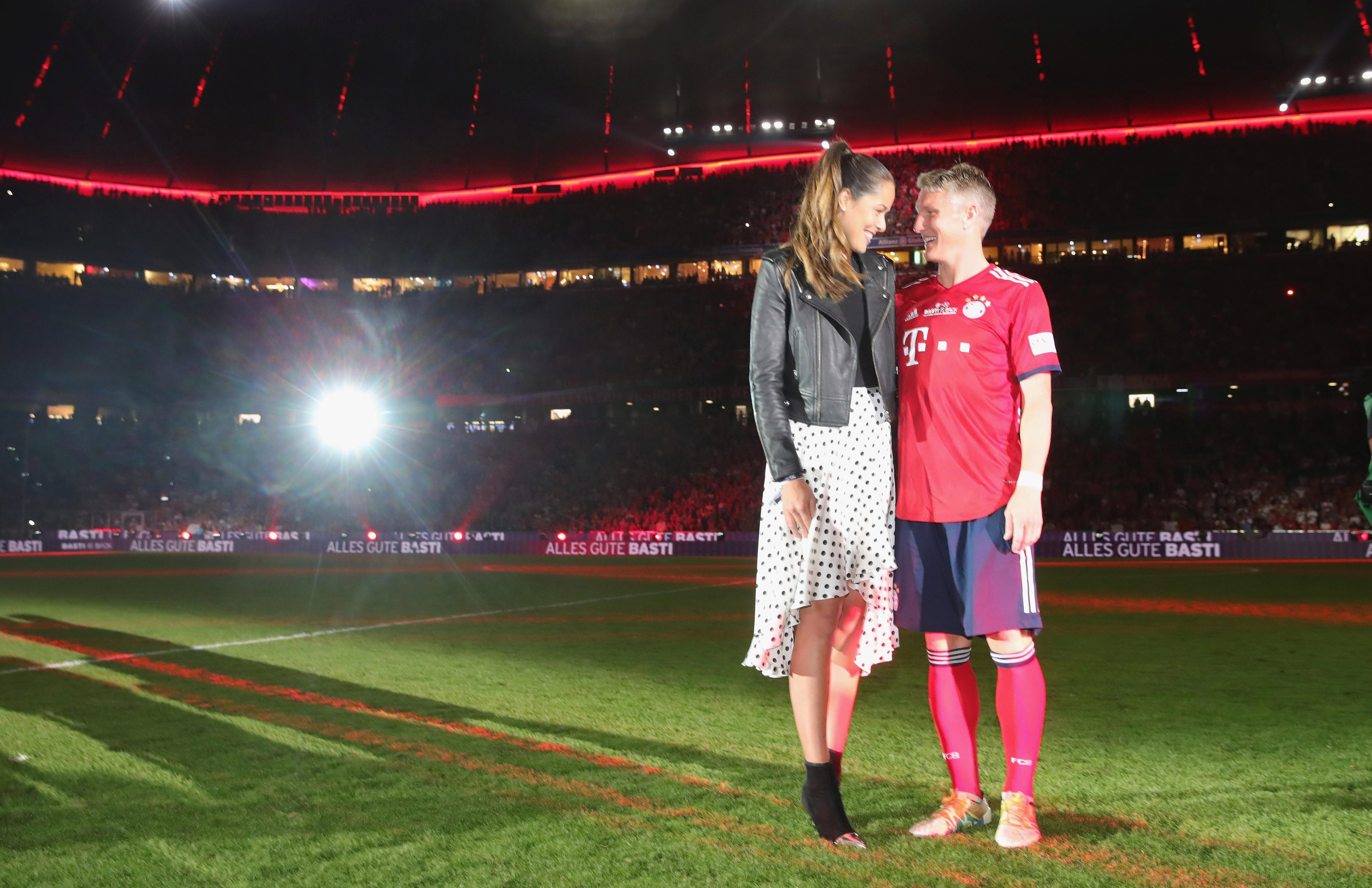 Ana Ivanovic joined Bastian Schweinsteiger on the pitch at Allianz Arena