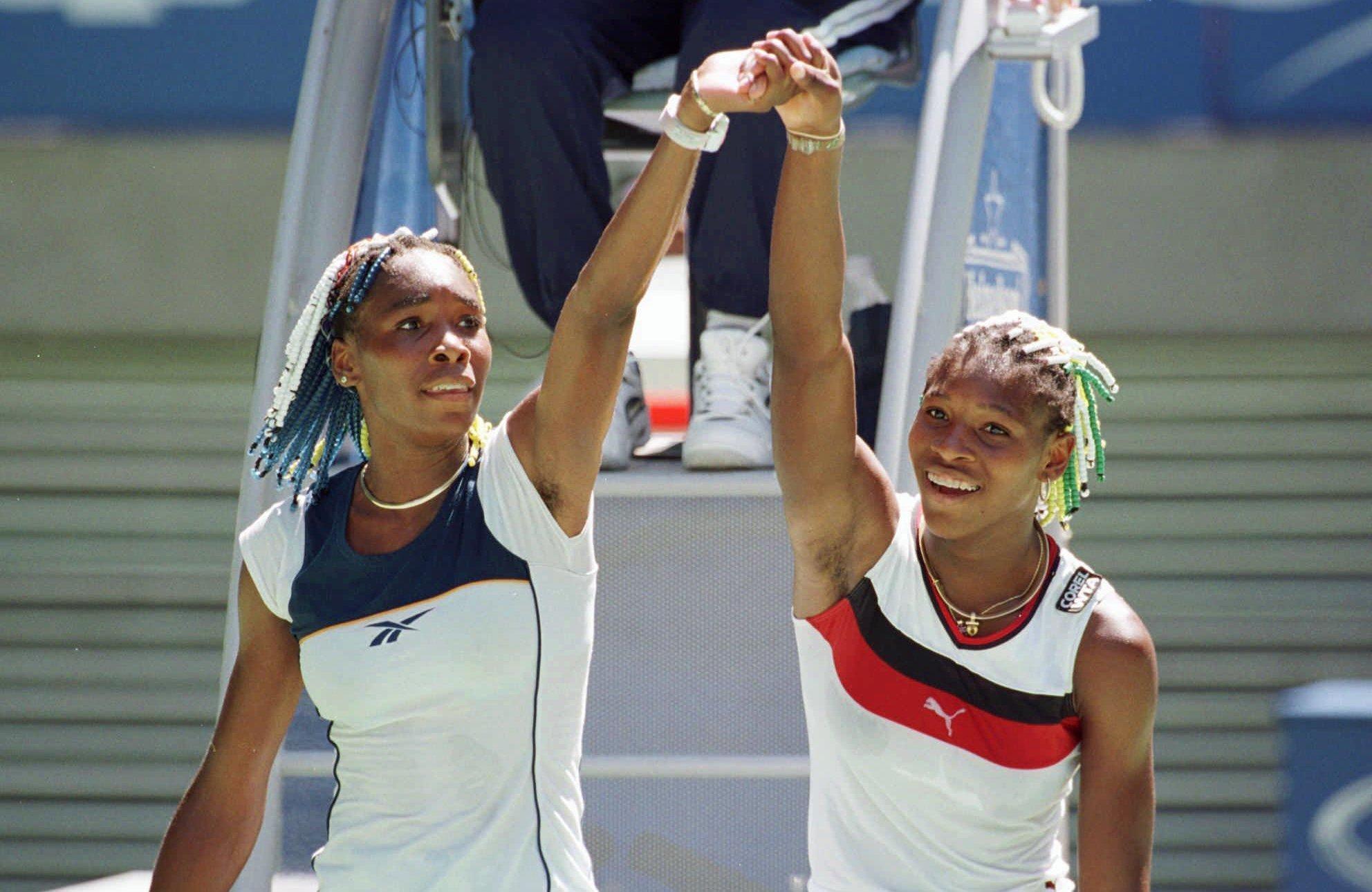 Serena, right, and Venus Williams played each other for the first time on Tour in January 1998 at the Australian Open