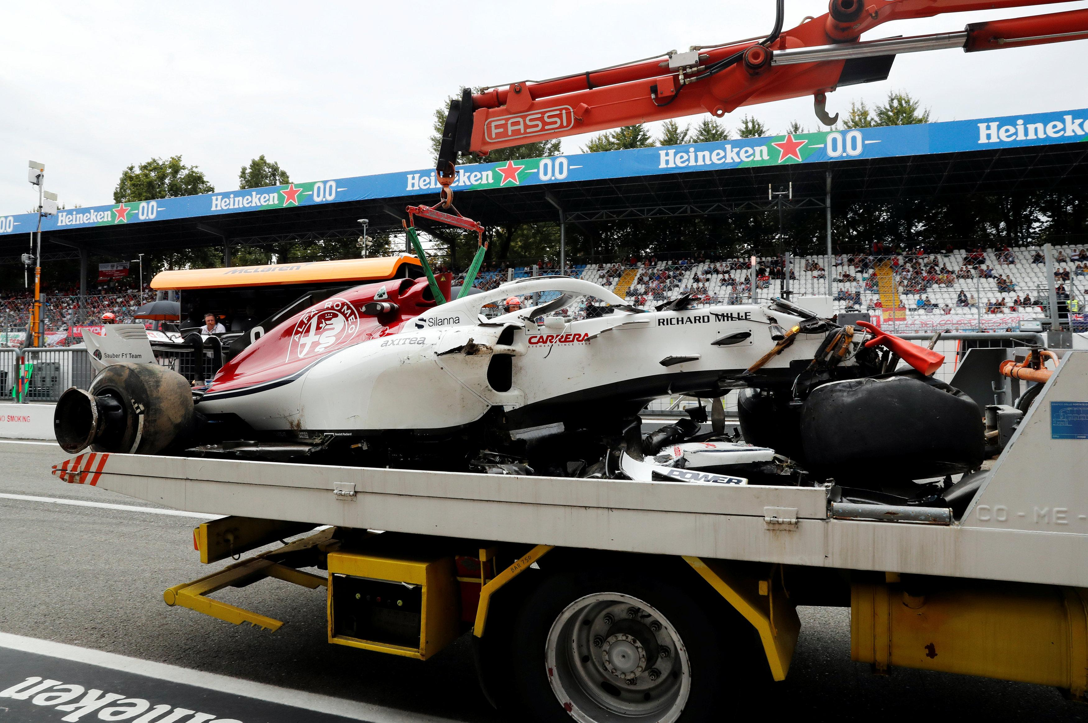 The Sauber was left a mangled mess after the smash at Monza