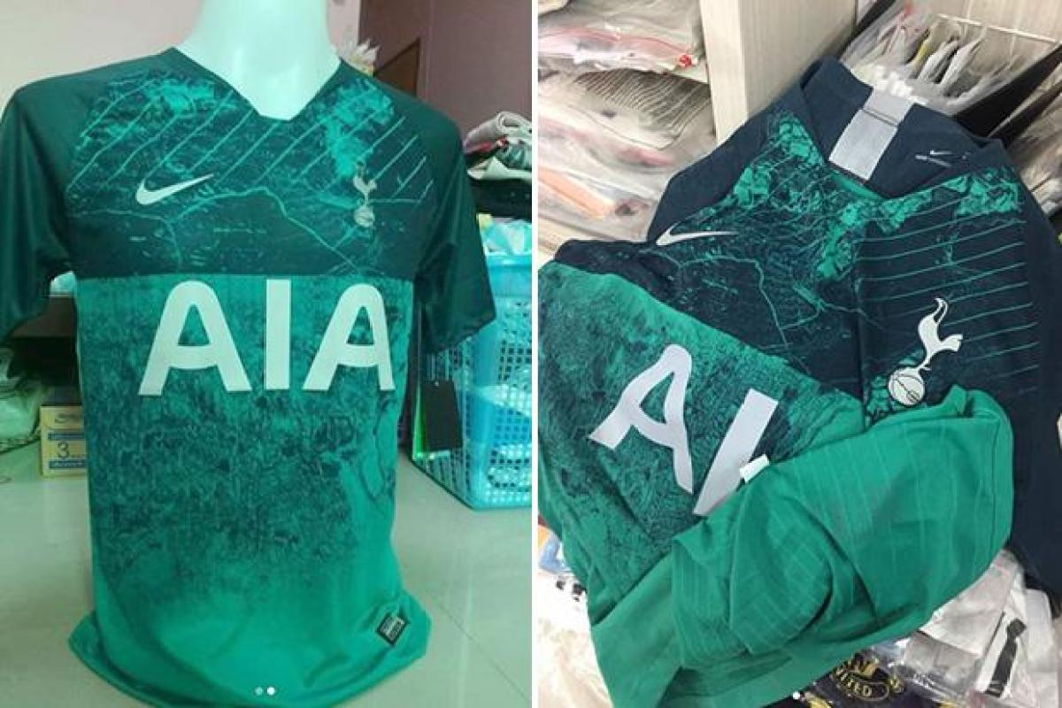2a7e3a98bb7 Tottenham new 2018-19 third kit  leaked  with bizarre green frayed  effect... and fans don t like it