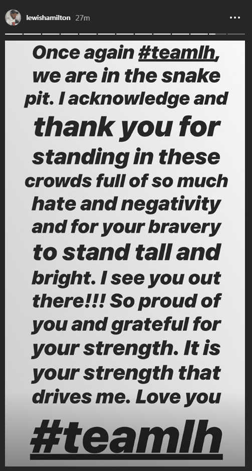 Lewis Hamilton's passionate message of thanks posted on his Instagram account