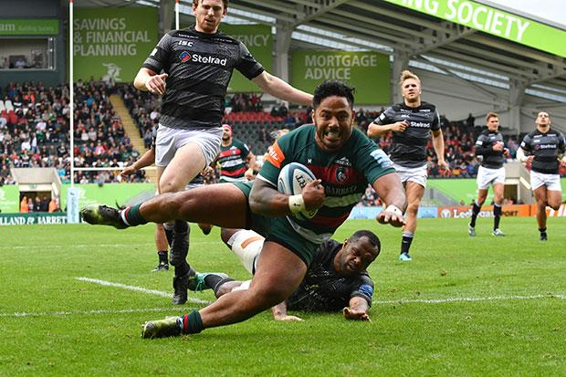 Manu Tuilagi touches down for Tigers after blitzing half the pitch and running over two Newcastle Falcons players