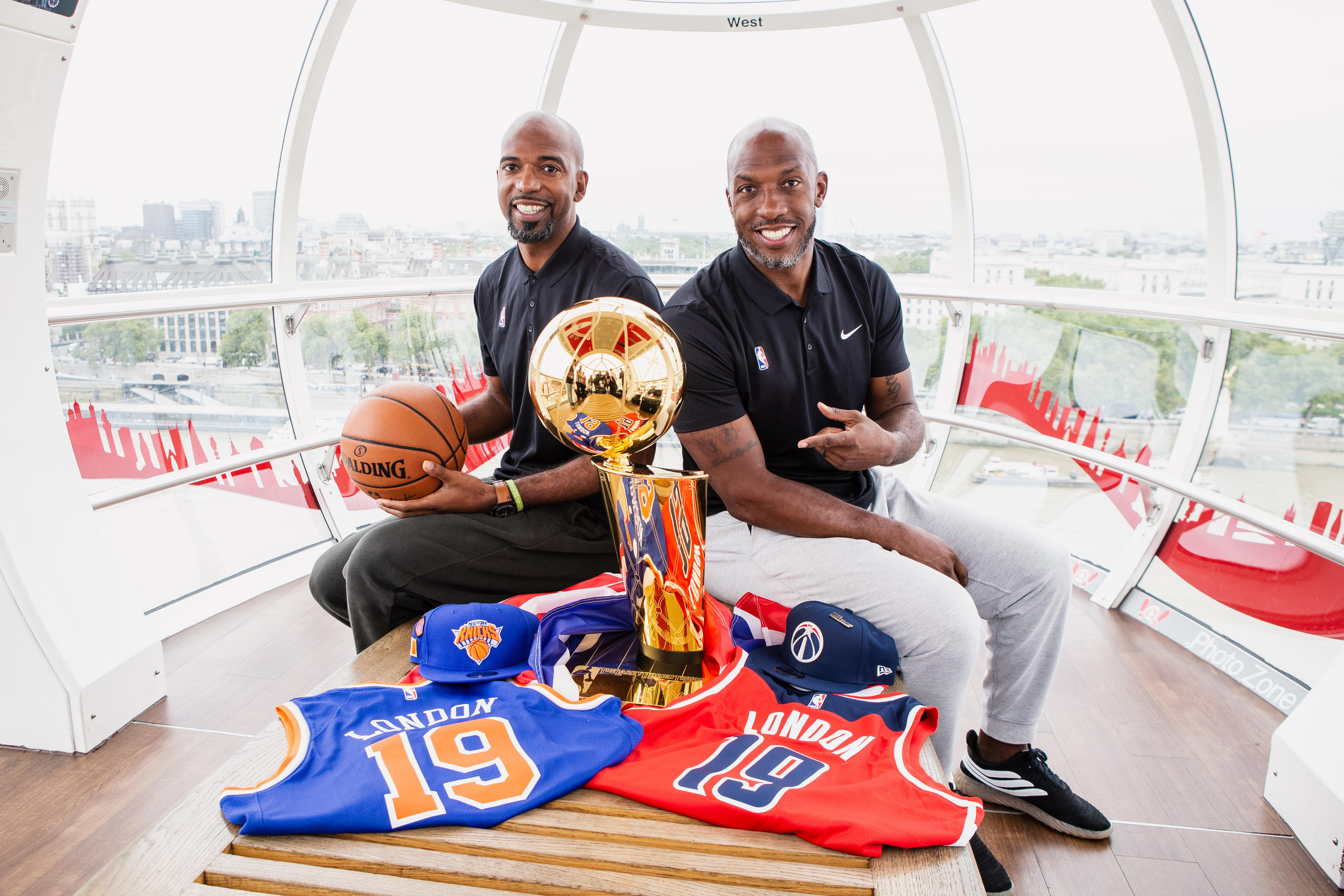 NBA legends Rip Hamilton, left, and Chauncey Billups, right, were in London ahead of the January game between the New York Knicks and Washington Wizards