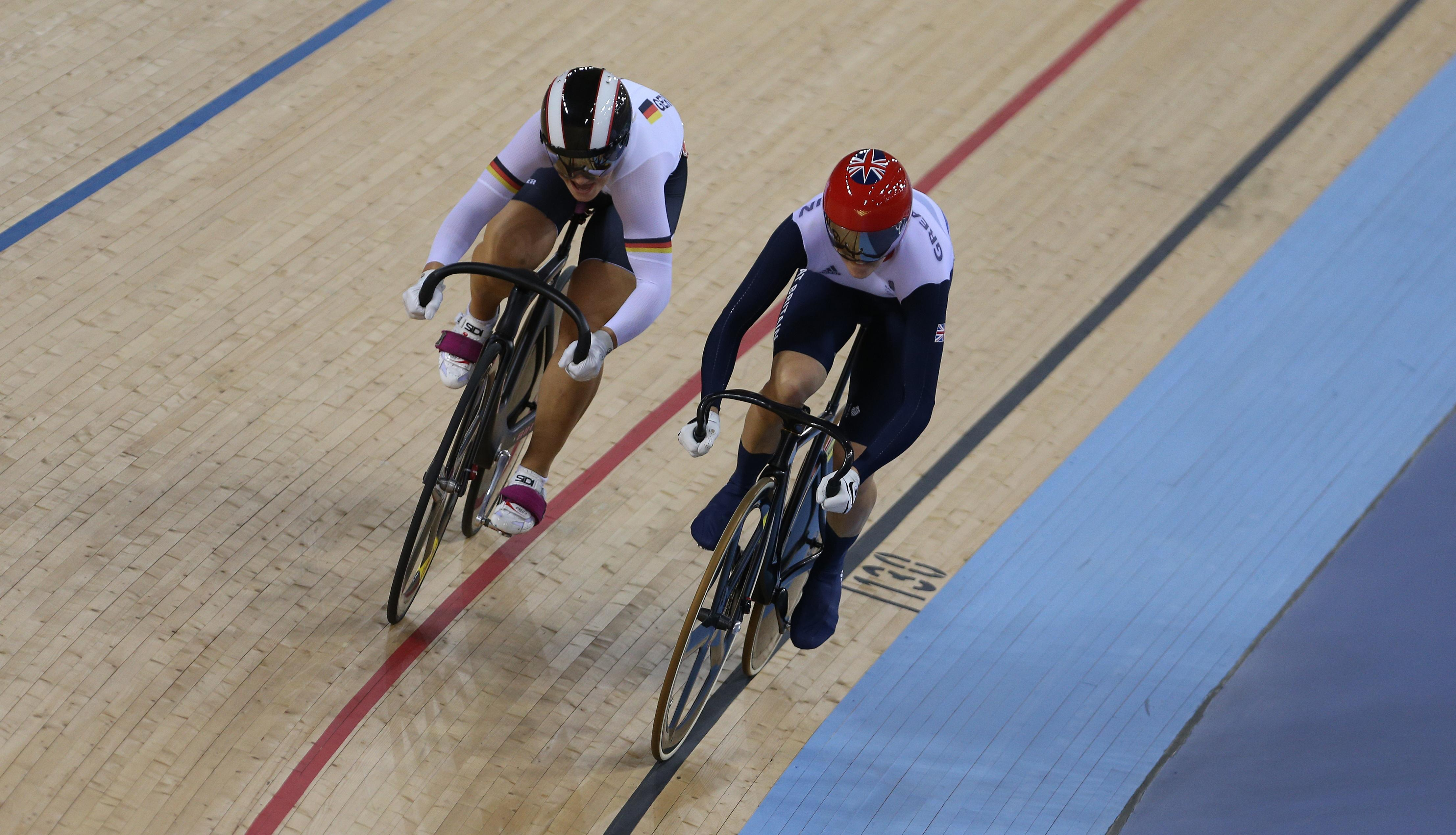 Victoria Pendleton just inched out Vogel in the semi-final of the individual sprint at London 2012.