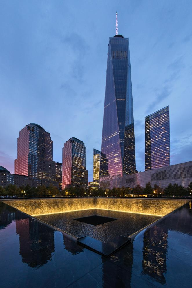 The memorial to those killed sits in the shadow of the One World Trade Center, which replaced the Twin Towers