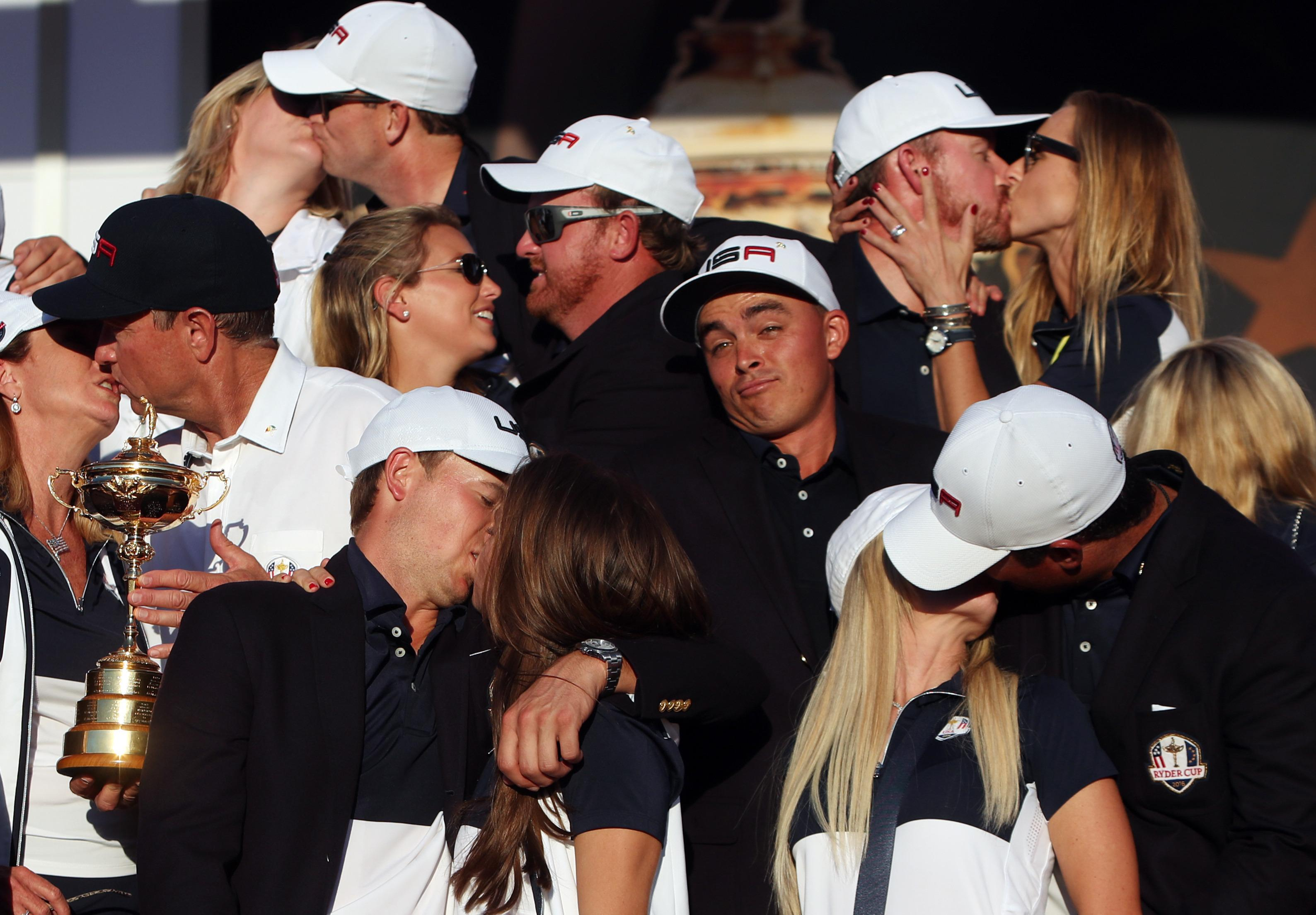 Rickie Fowler made up for his famous picture at the last Ryder Cup