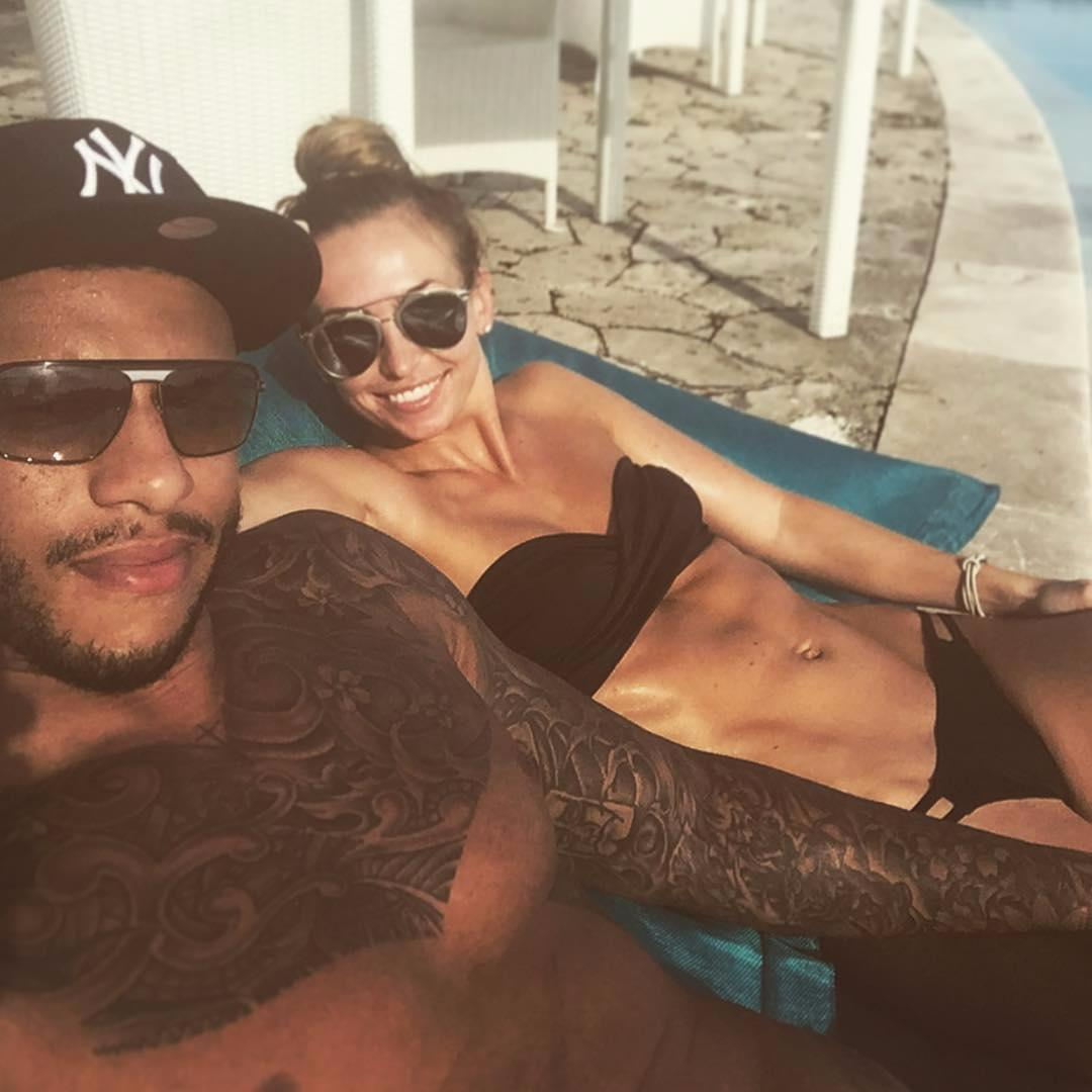 Courtney Lawes and his wife Jessica Lawes
