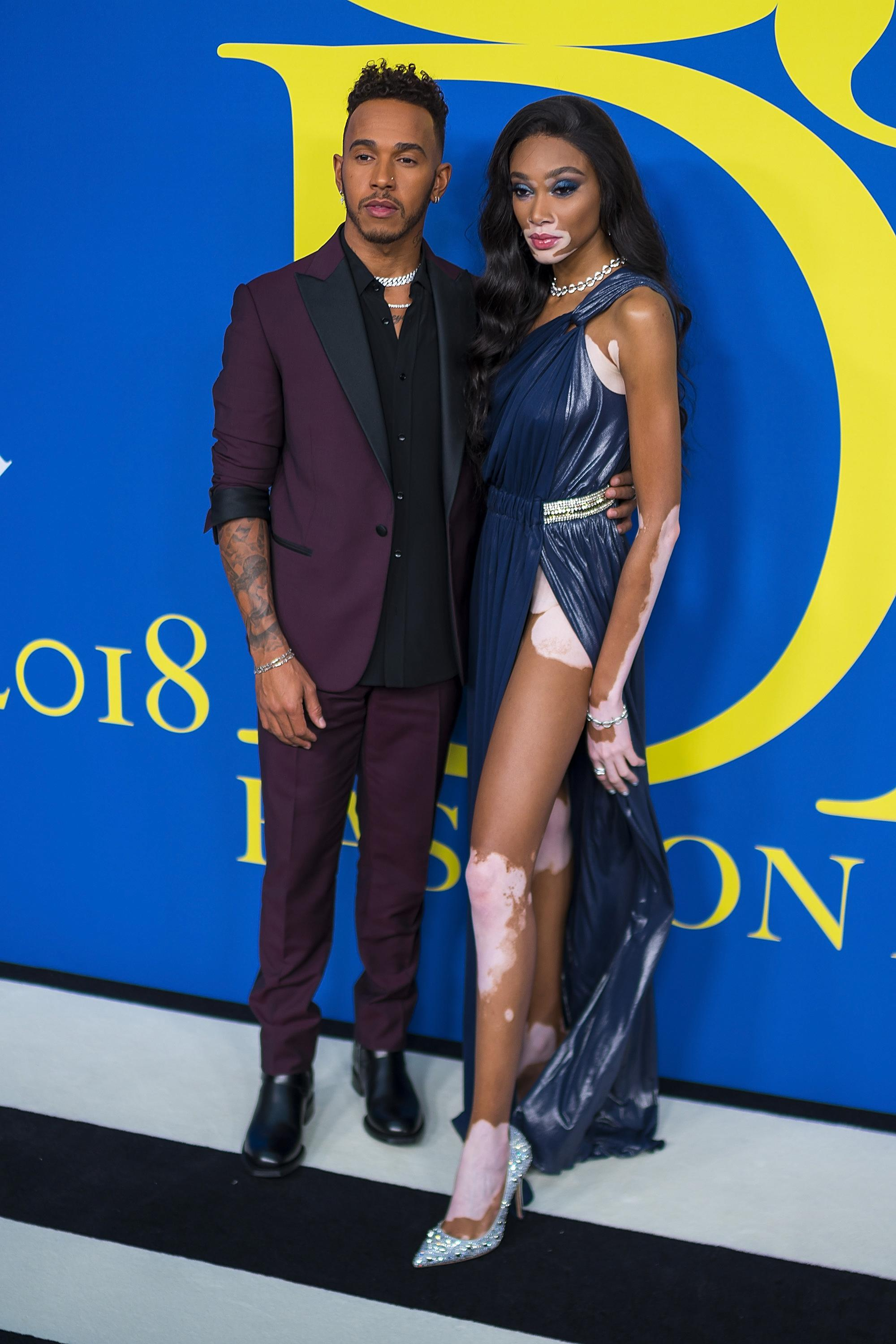 Lewis Hamilton with Winnie Harlow at the 2018 Fashion Awards
