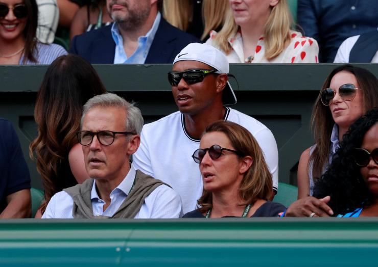 Tiger and Erica watch Serena Williams and Angelique Kerber at Wimbledon last year