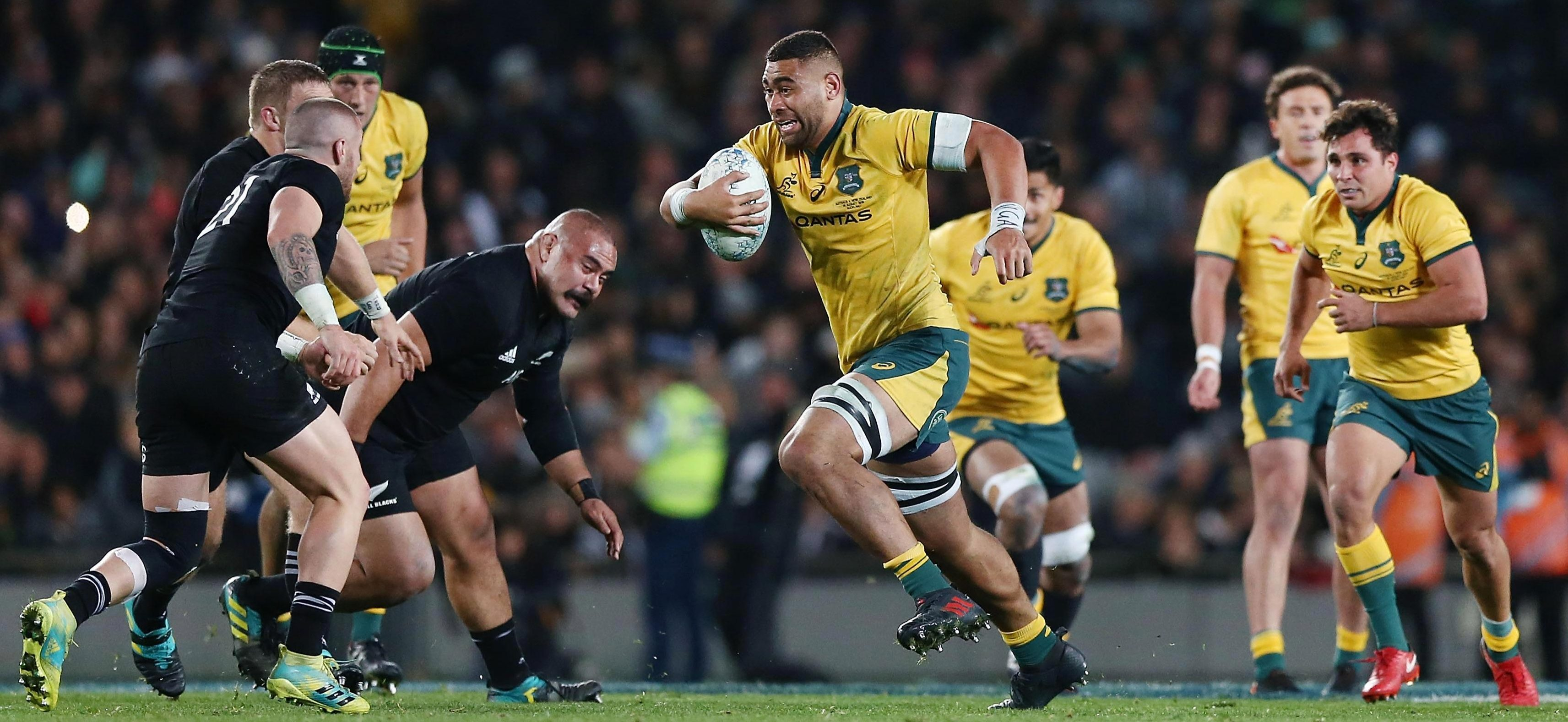 Lukhan Tui of the Wallabies makes a run during The Rugby Championship loss to the All Blacks