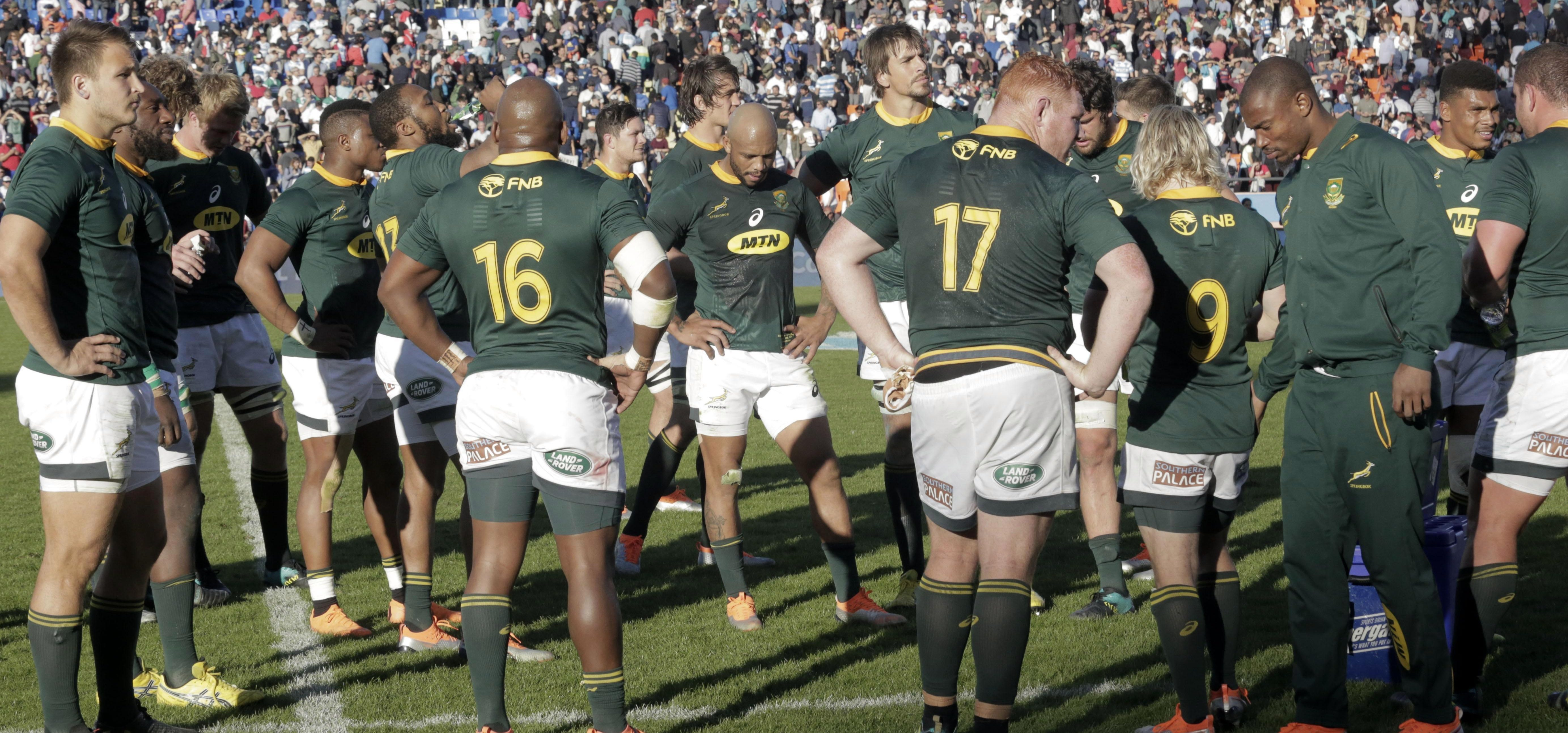 The Springboks cut dejected figures after their defeat in Mendoza