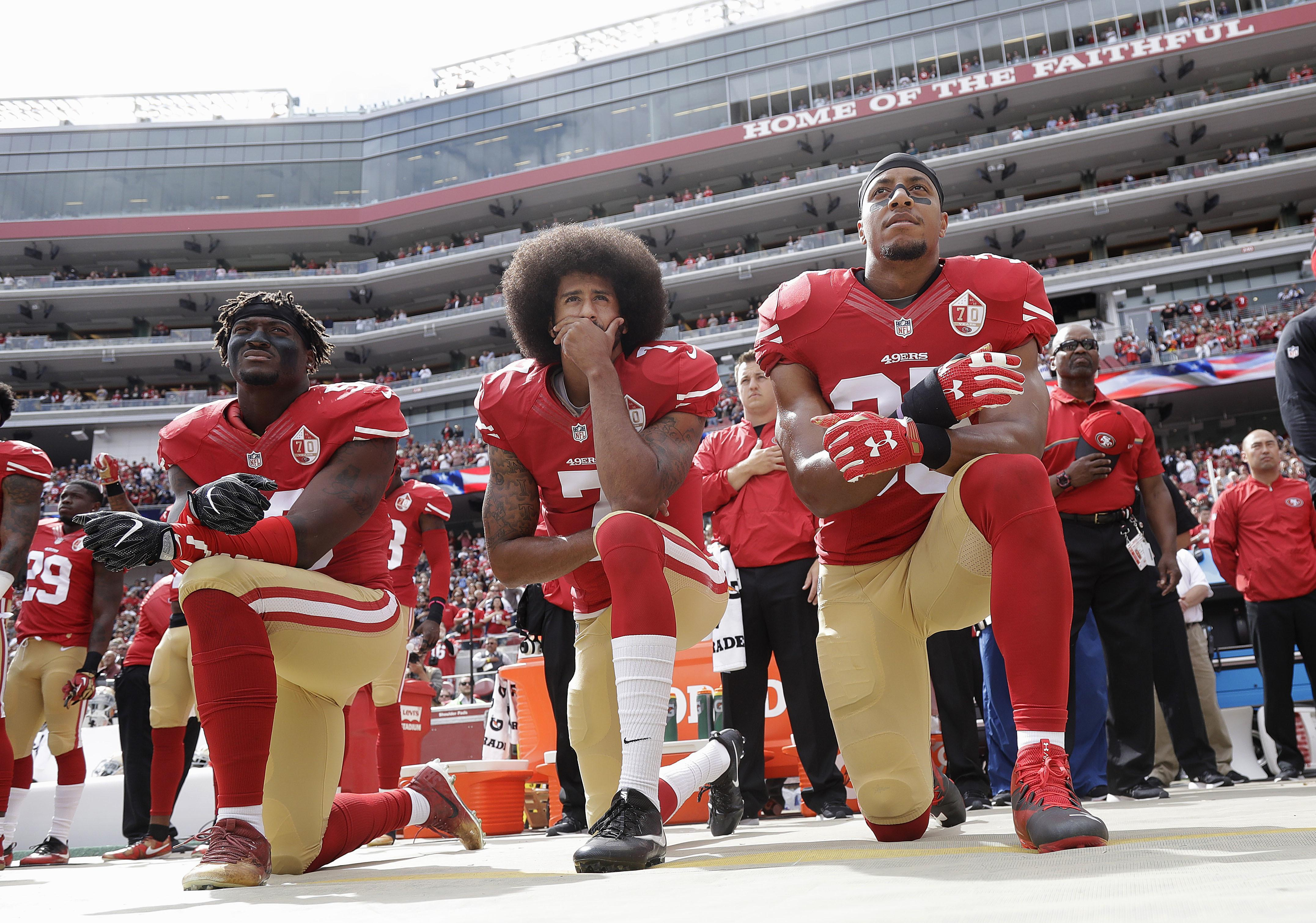 Kaepernick started the trend of NFL players taking a knee during the national anthem to protest against racial injustices in America