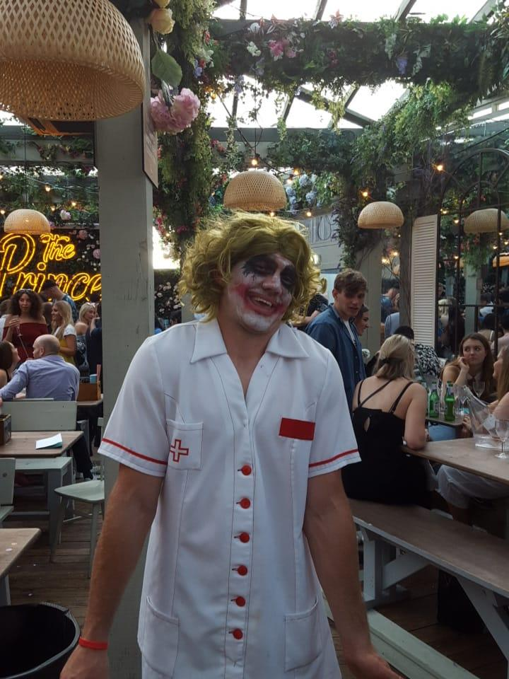 Alex Goode went to Saracens' Premiership winners party as the Joker... despite being told not to dress up