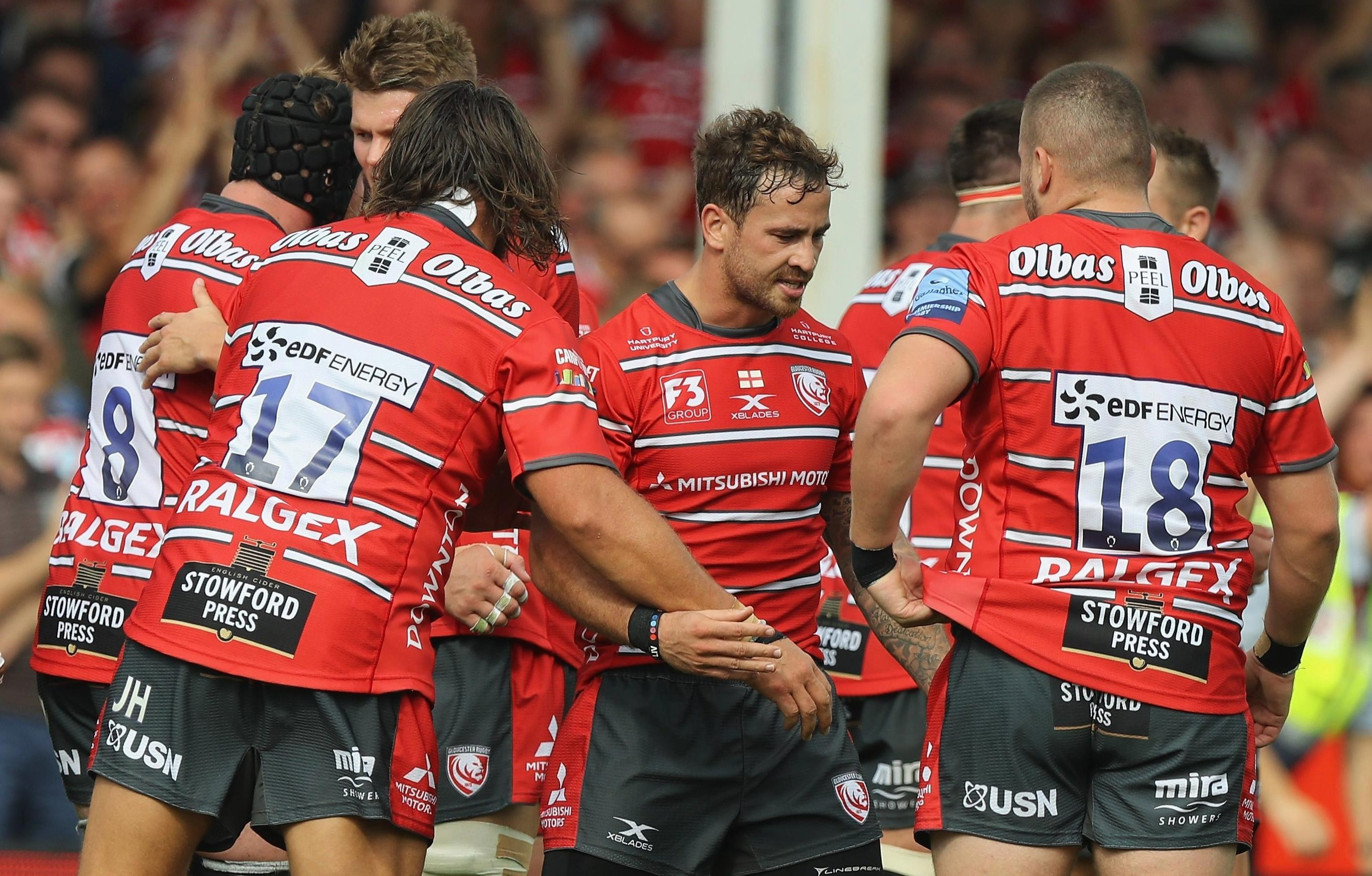 England star Danny Cipriani celebrates with his new Gloucester team-mates
