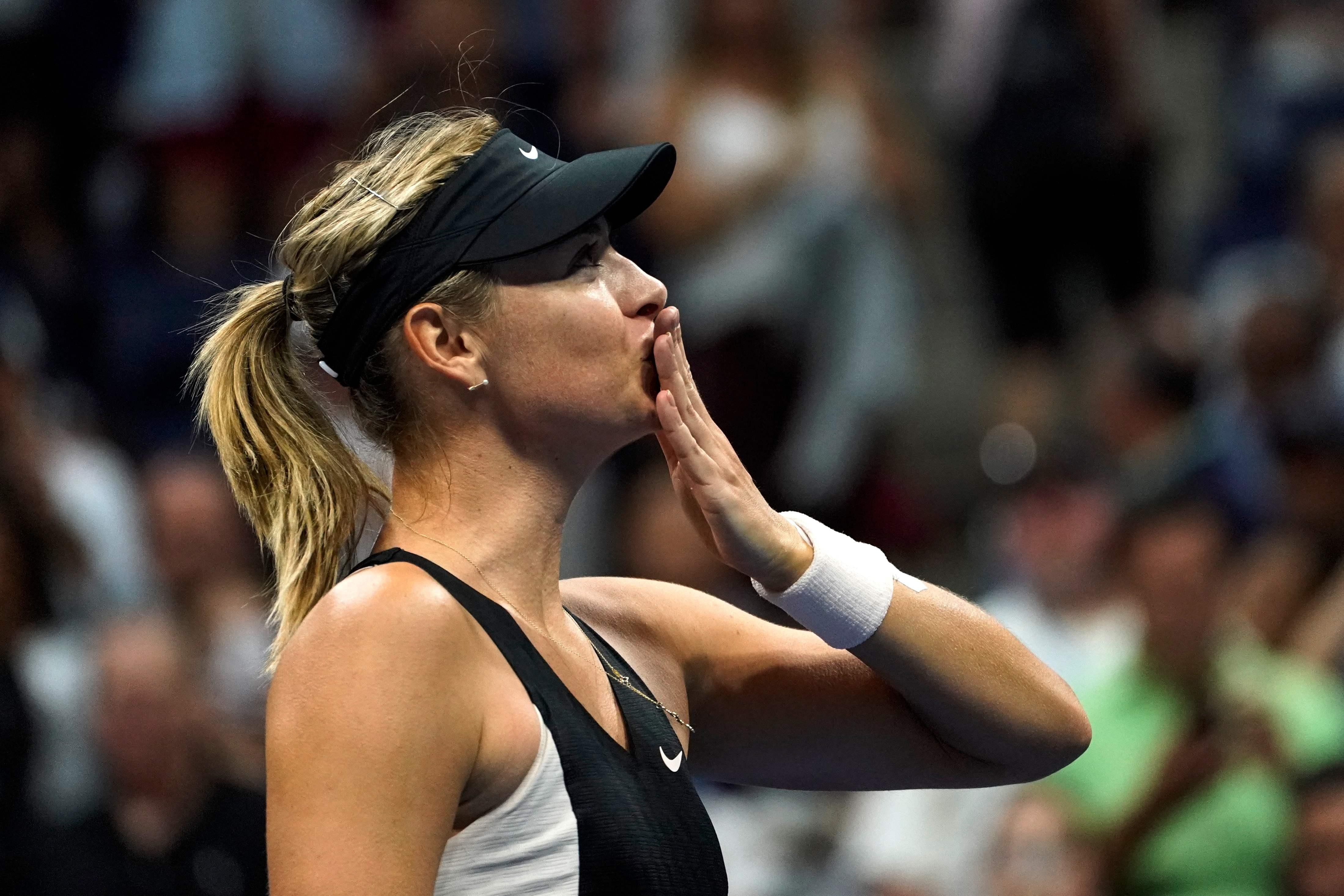 Maria Sharapova reached the last-16 of the US Open after beating Jelena Ostapenko