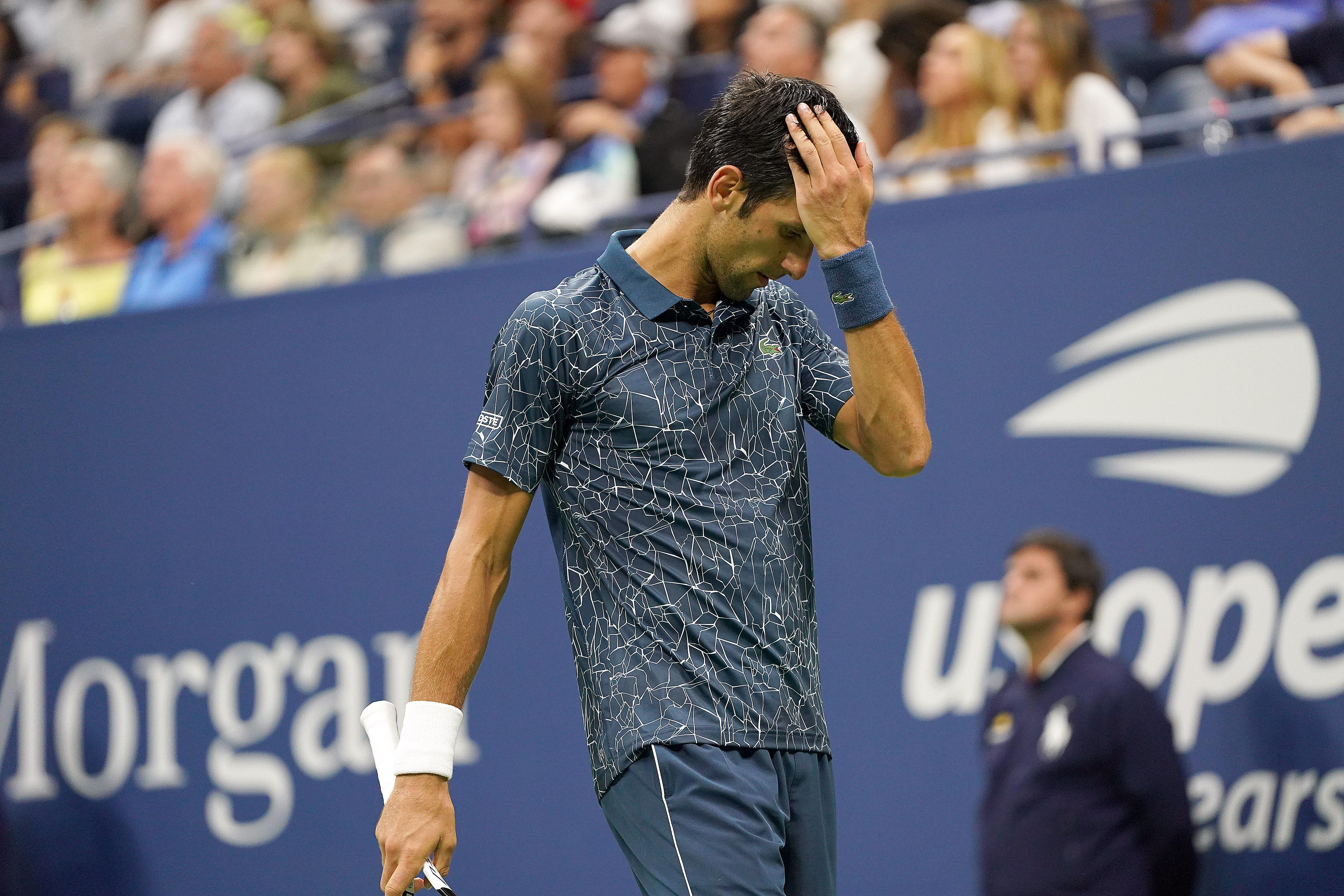 Djokovic enjoyed a worry-free opening two sets but it was in the third set that trouble hit the 13-time Grand Slam champion