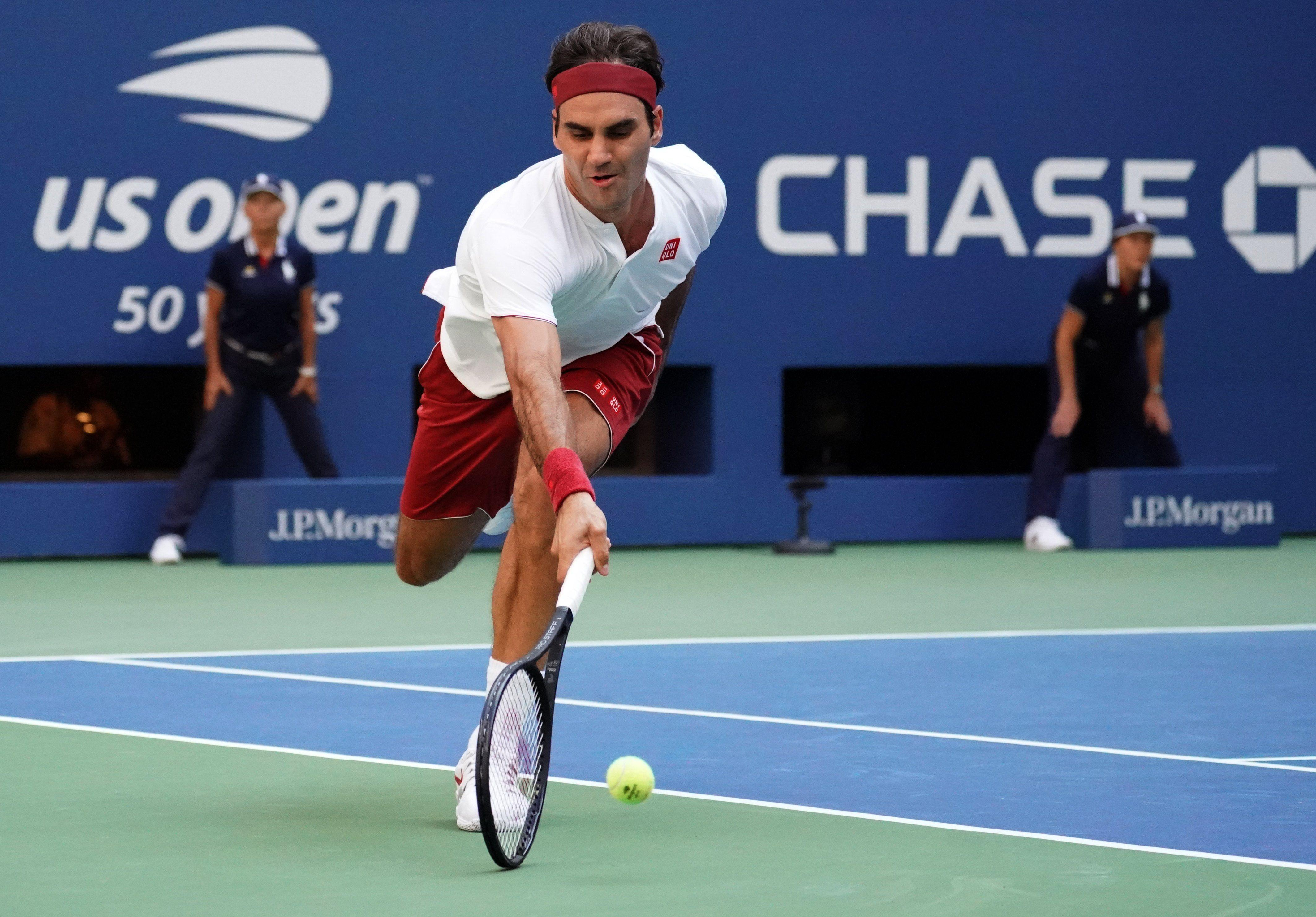 Federer got to the shot that was mere inches off the ground