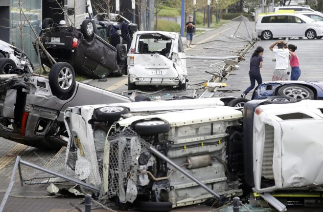 Wrecked vehicles in Osaka in the wake of Typhoon Jebi in 2018, Japan's worst storm for 25 years