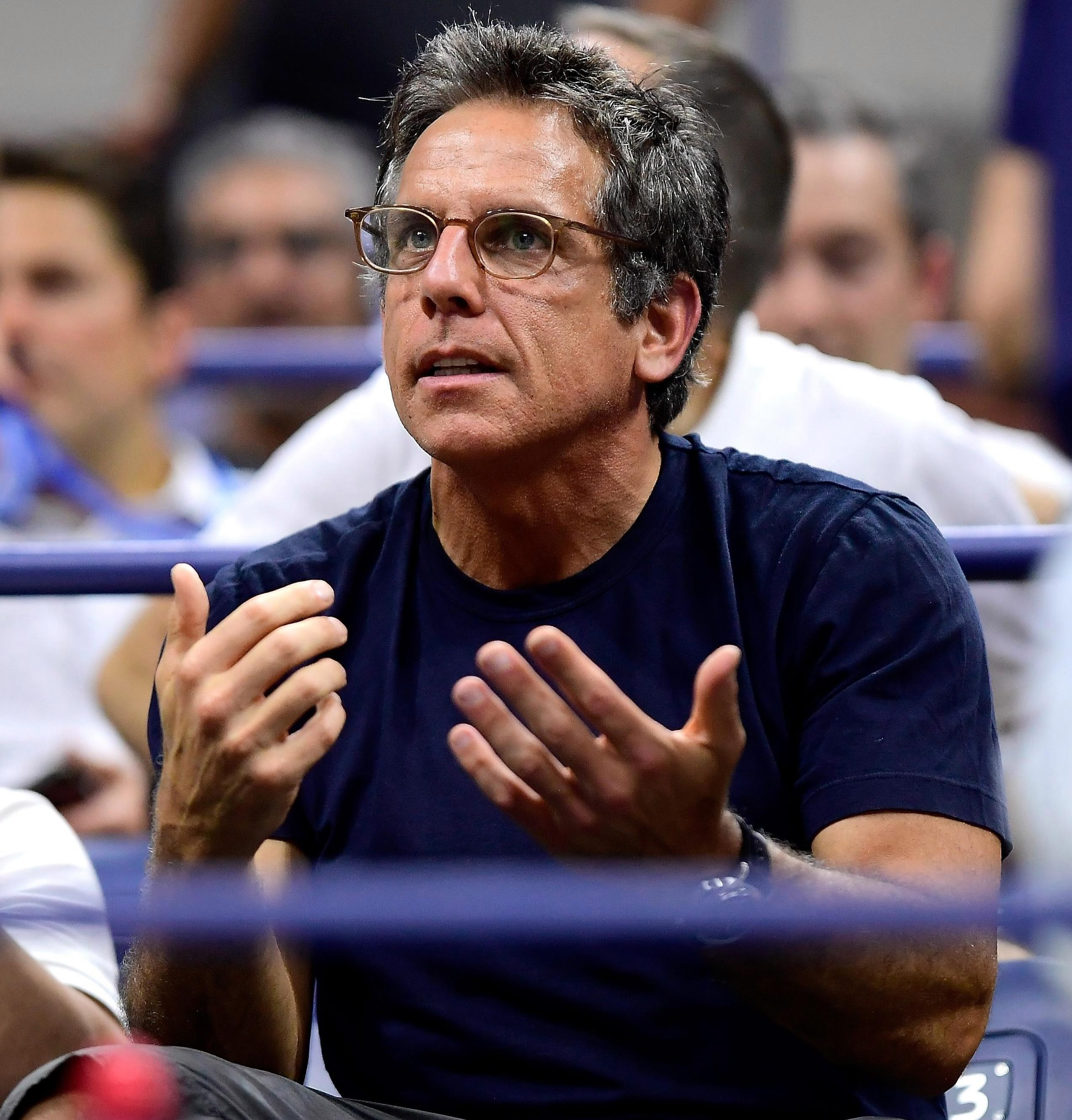 Ben Stiller seemed to be enjoying what was happening on court at the US Open