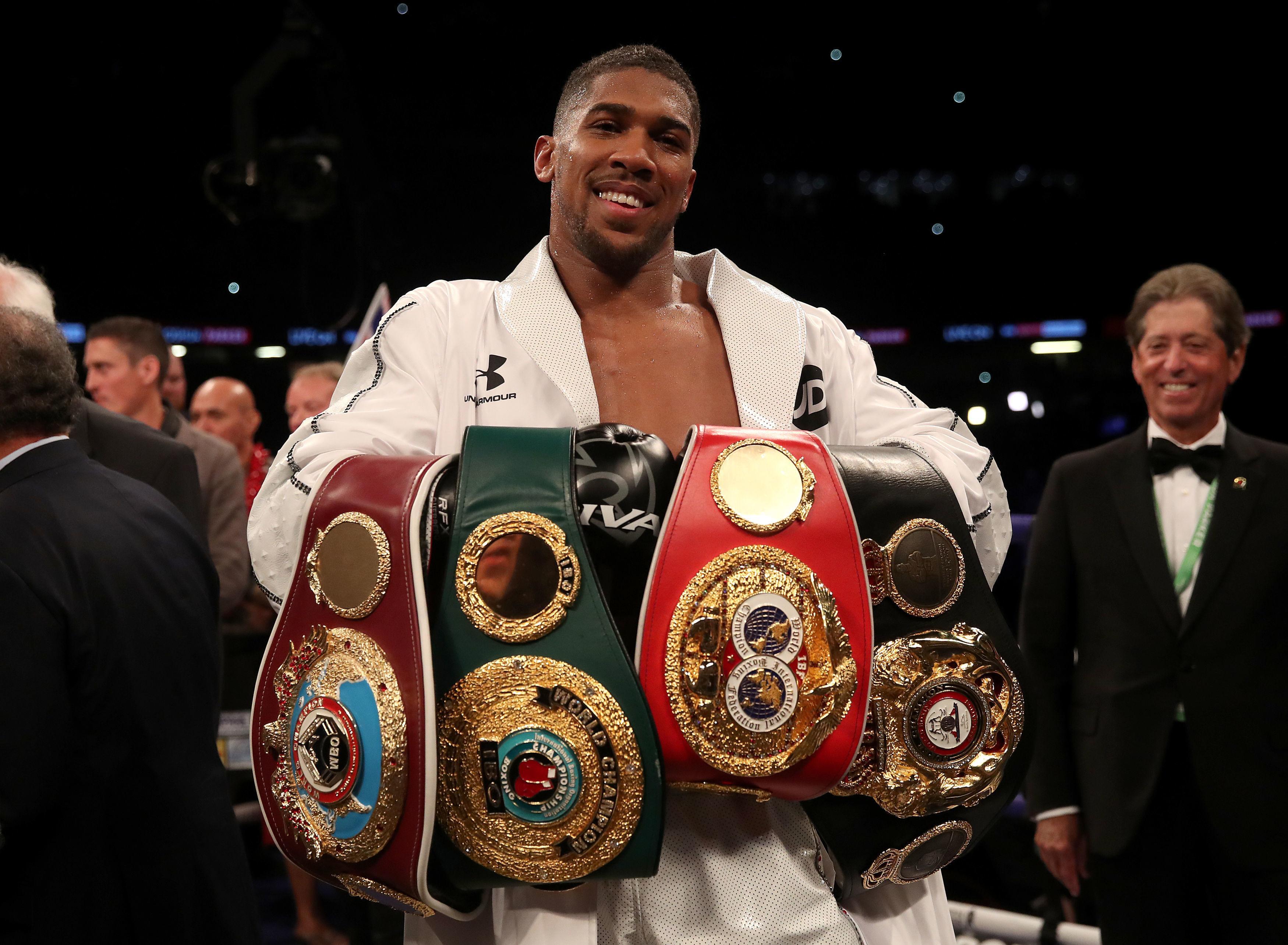 Anthony Joshua holds theWBO, WBA and IBF belts