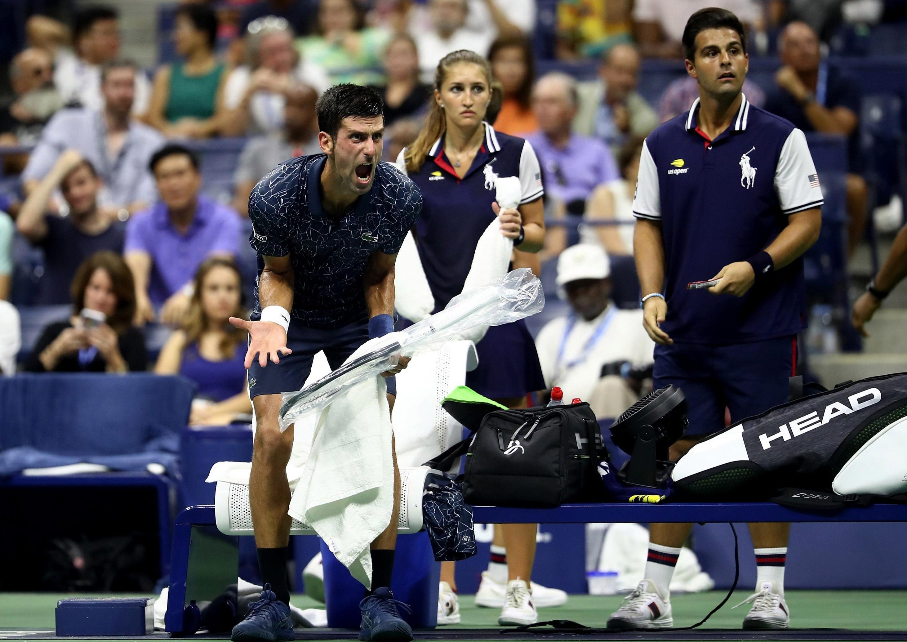 Novak Djokovic makes it clear he is unhappy with the conditions at Flushing Meadows