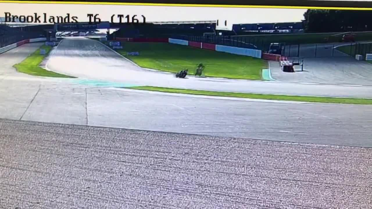 Leon Haslam hit the high side as he went for the overtake