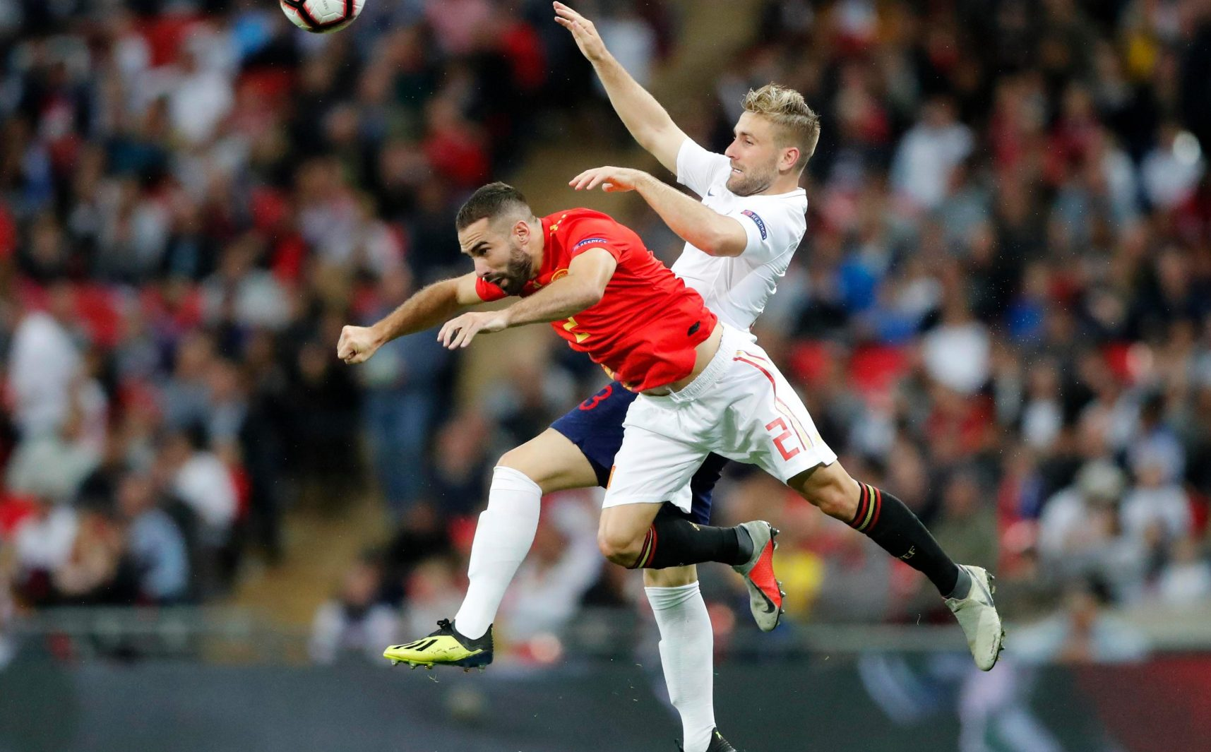 England defender Luke Shaw needed lengthy treatment after he was sent crashing to the ground in a challenge with Dani Carvajal