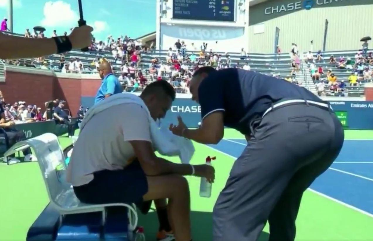 Nick Kyrgios was shown getting encouragement from Mohamed Lahyani