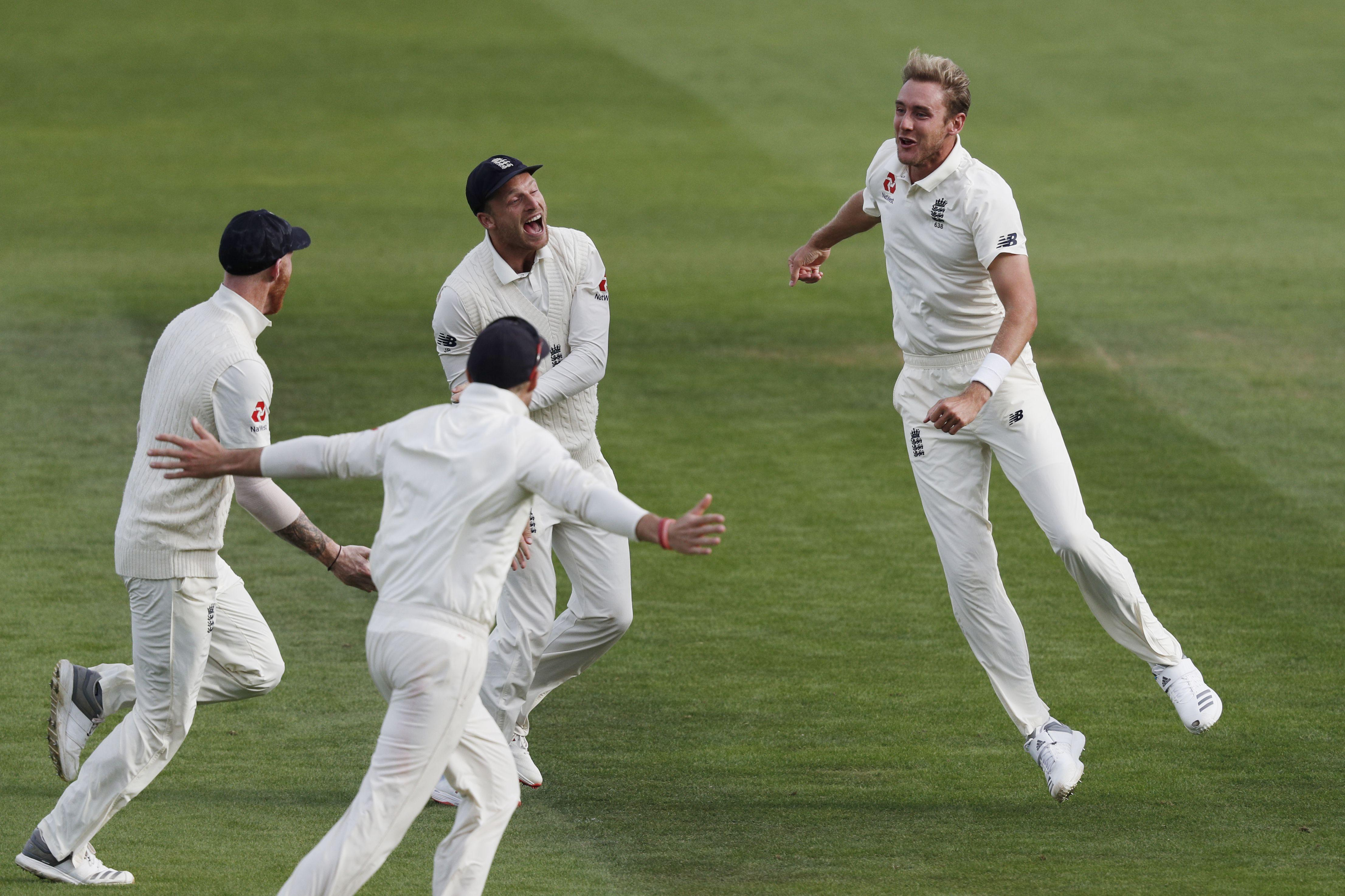Stuart Broad celebrates the wicket of India captain Virat Kohli for a duck, playing one well outside of leg stump