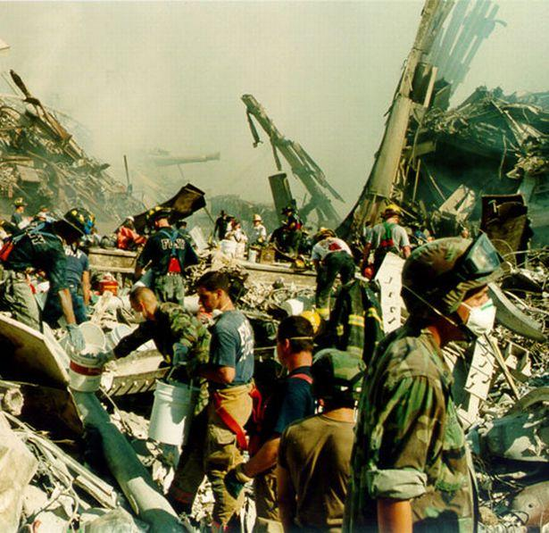 Rescue workers at Ground Zero following the 9/11 attack
