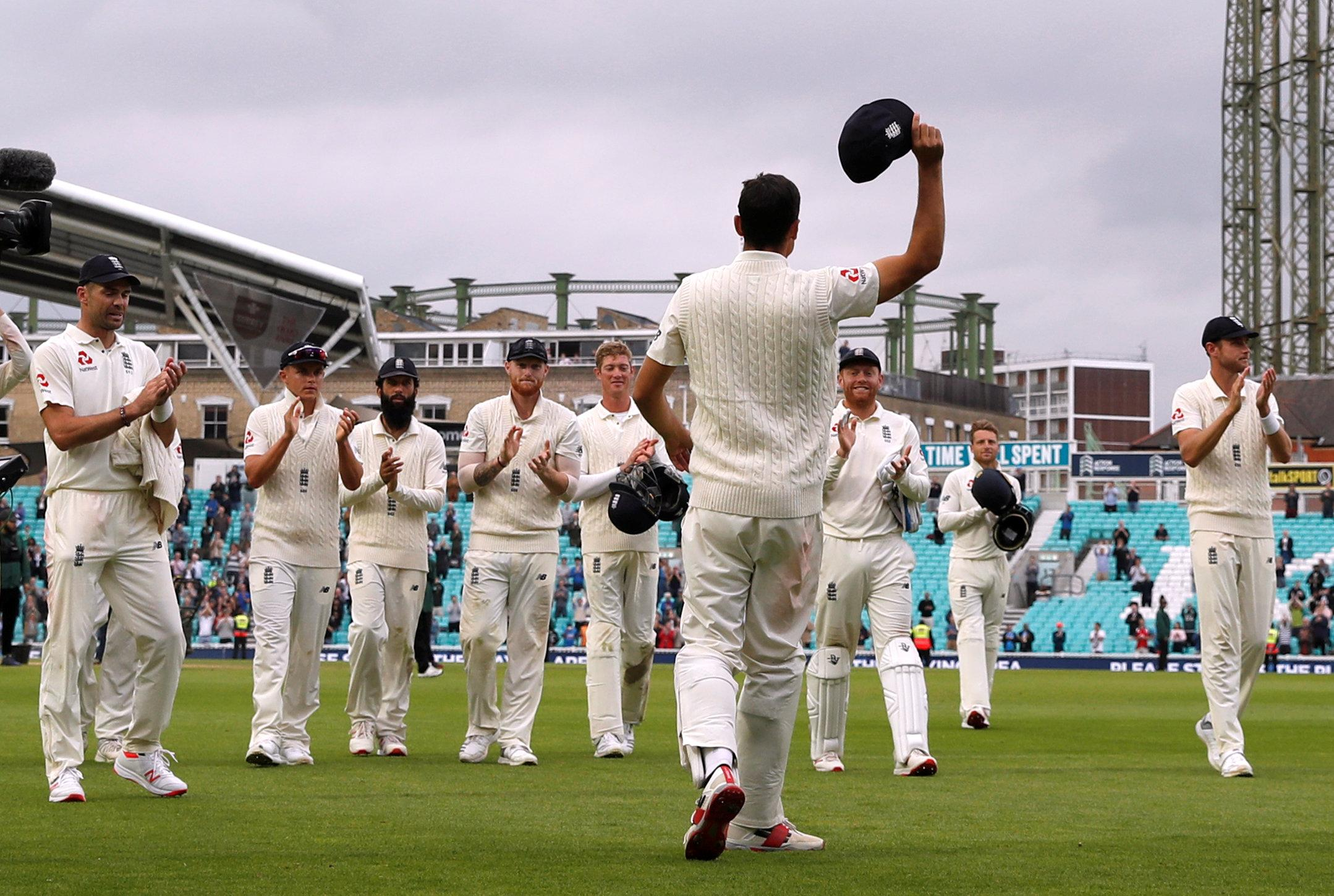 Alastair Cook walked the England team off the field in his final appearance for his country