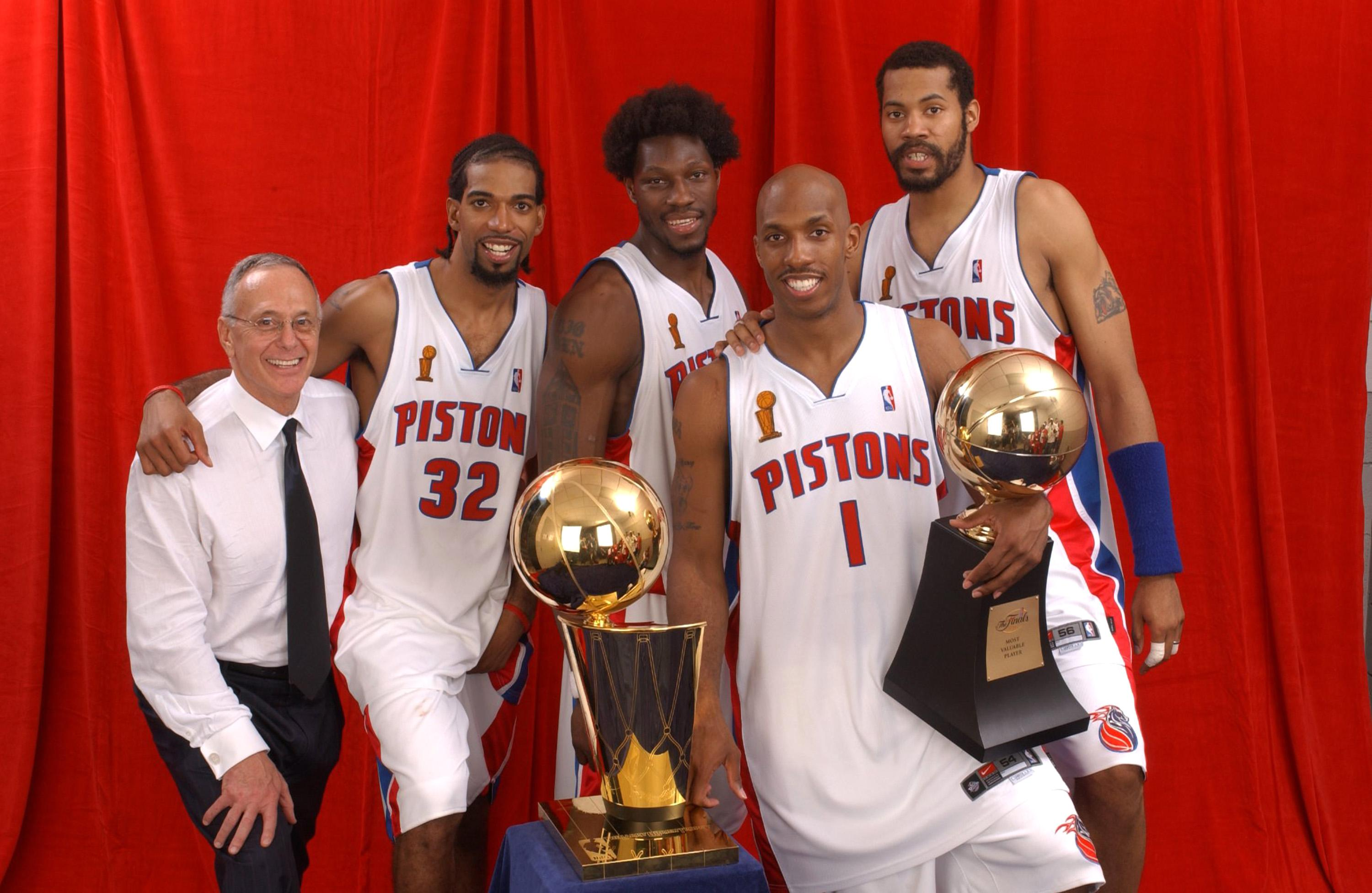 Hamilton, second left, and Billups, second right, won the 2004 NBA Championship with the Detroit Pistons