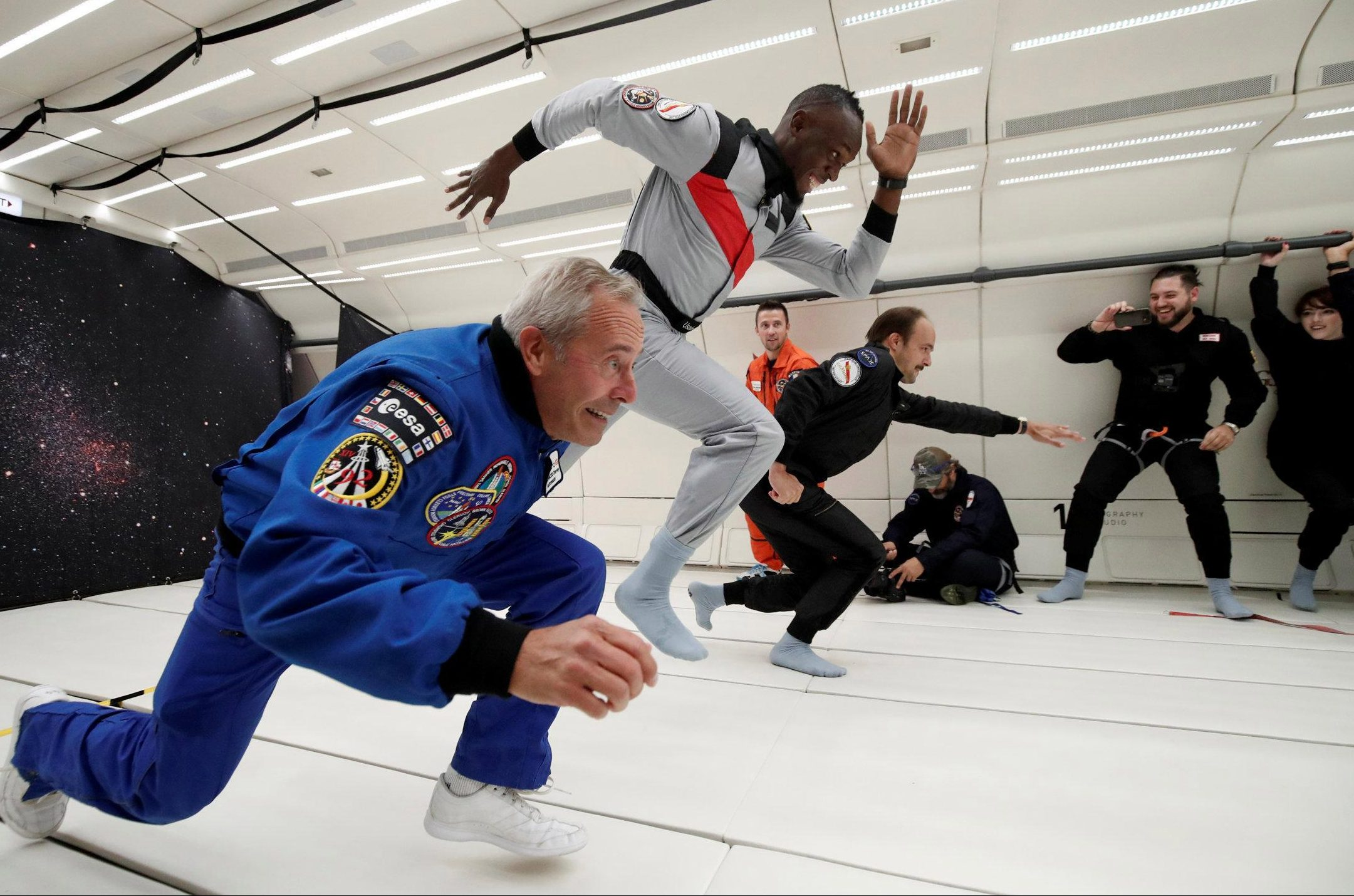Usain Bolt shows he can match his astronomical achievements on the ground by winning a space race in zero gravity