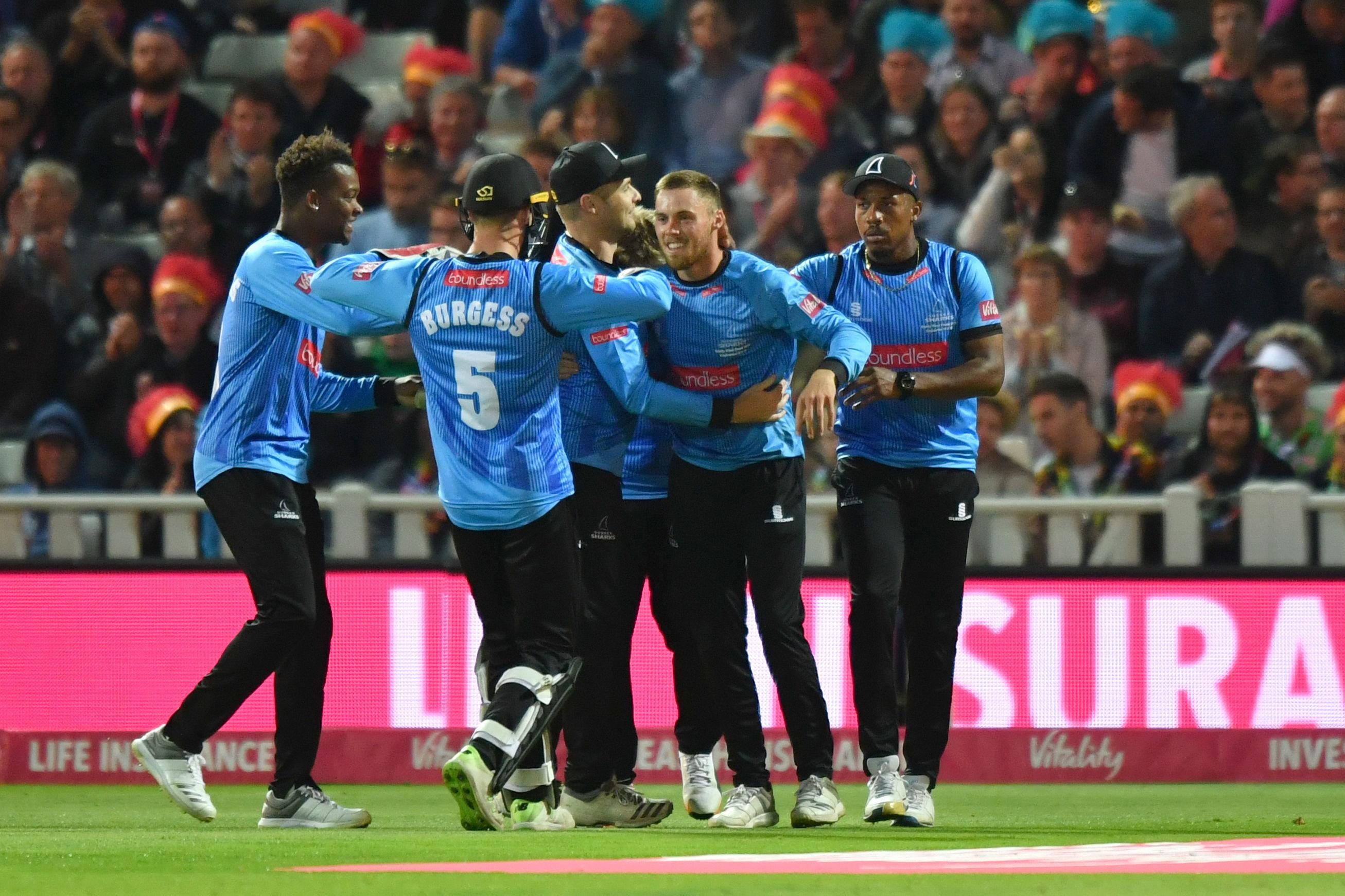 Sussex Sharks celebrate taking the catch of Moeen Ali