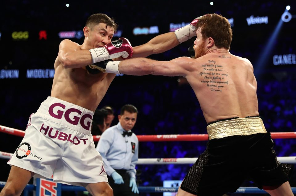 Canelo lands a jab on Golovkin during thrilling bout