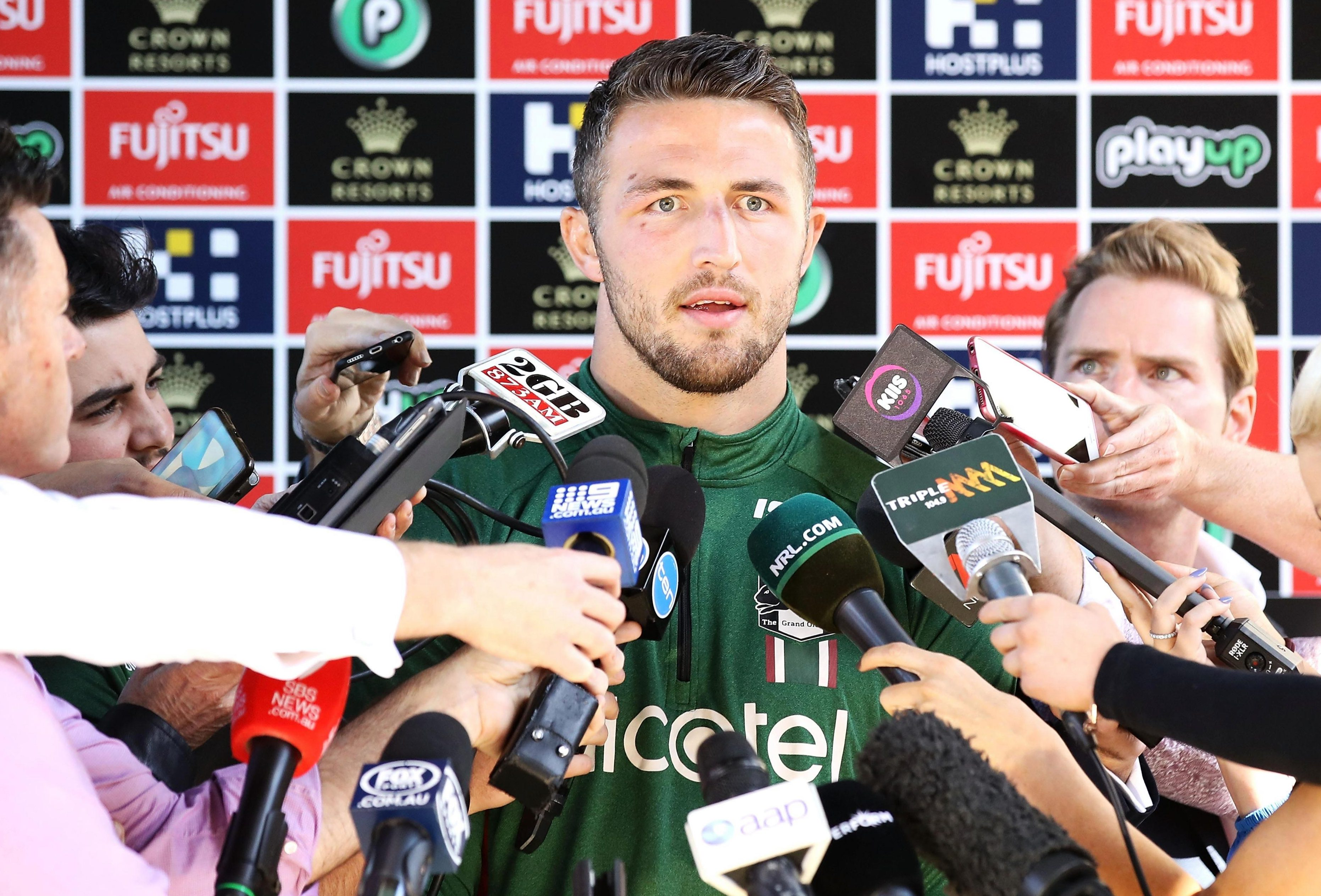 Sam Burgess spoke to the media after the NRL launched a probe into accusations his social media account was used to send lewd messages