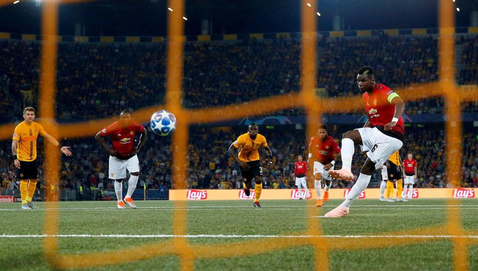 Pogba struck a penalty for Manchester United against Young Boys for his second goal