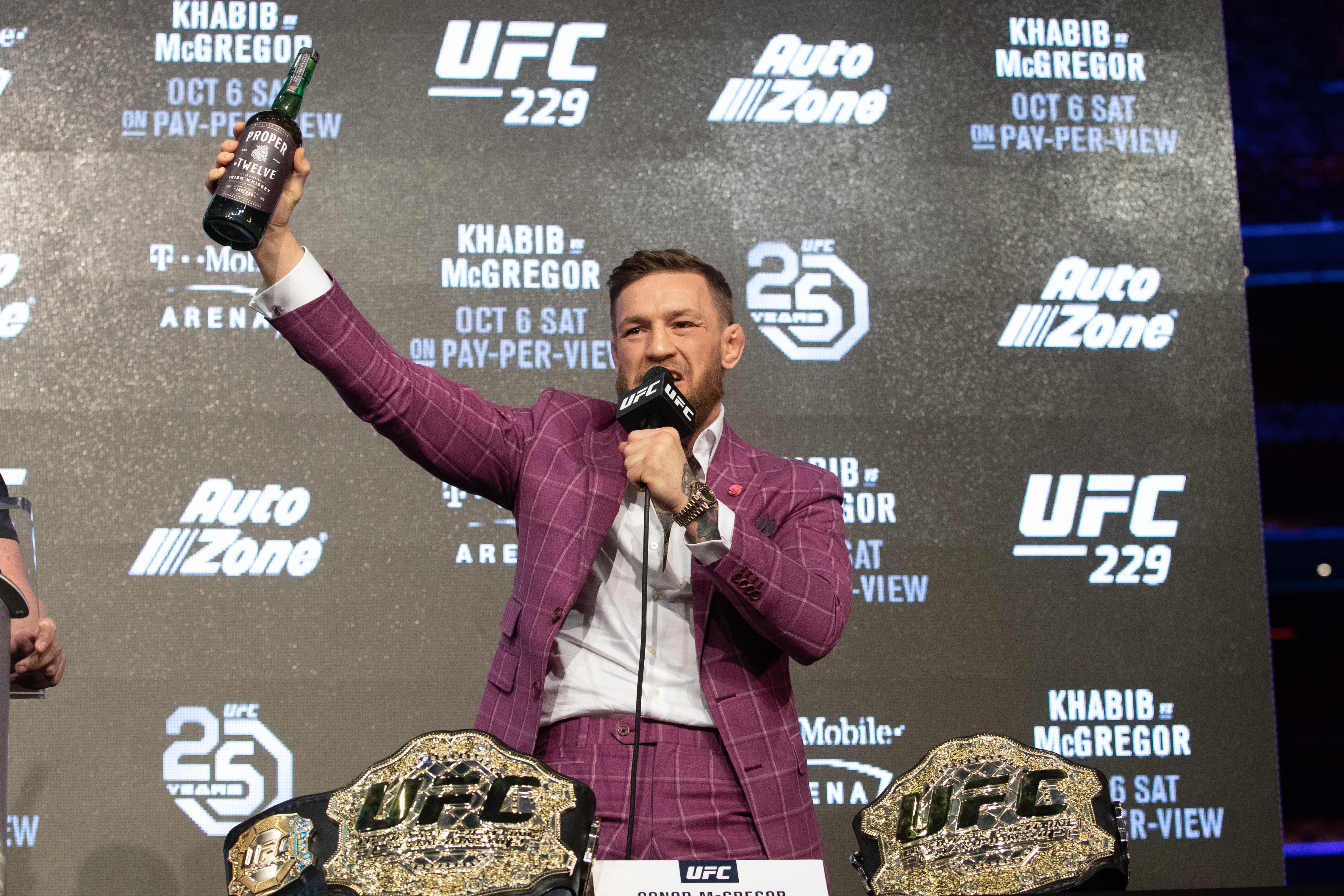 McGregor had a bottle of the whiskey at his explosive press conference with Khabib Nurmagomedov on Thursday night