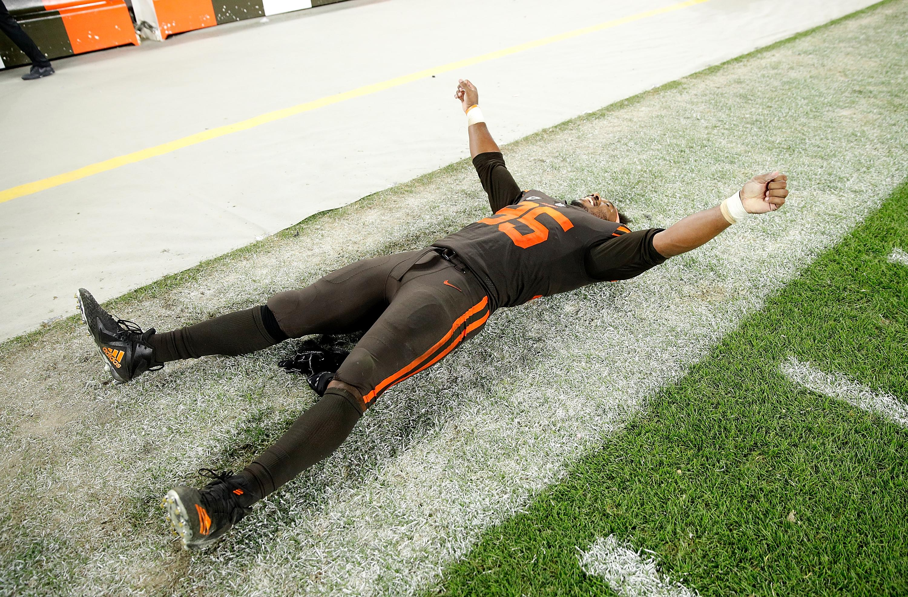 Myles Garrett cannot believe it after the Cleveland Browns beat the New York Jets