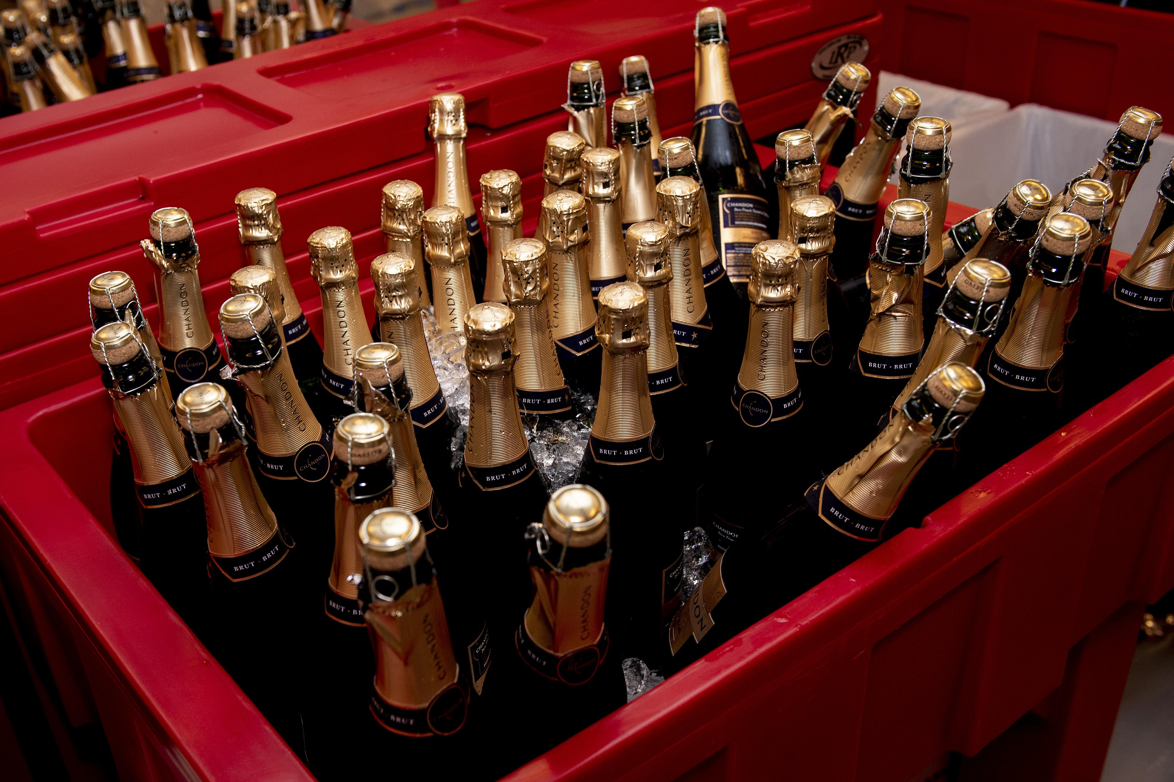 Several bottles of champagne were waiting for the Boston Red Sox to celebrate with