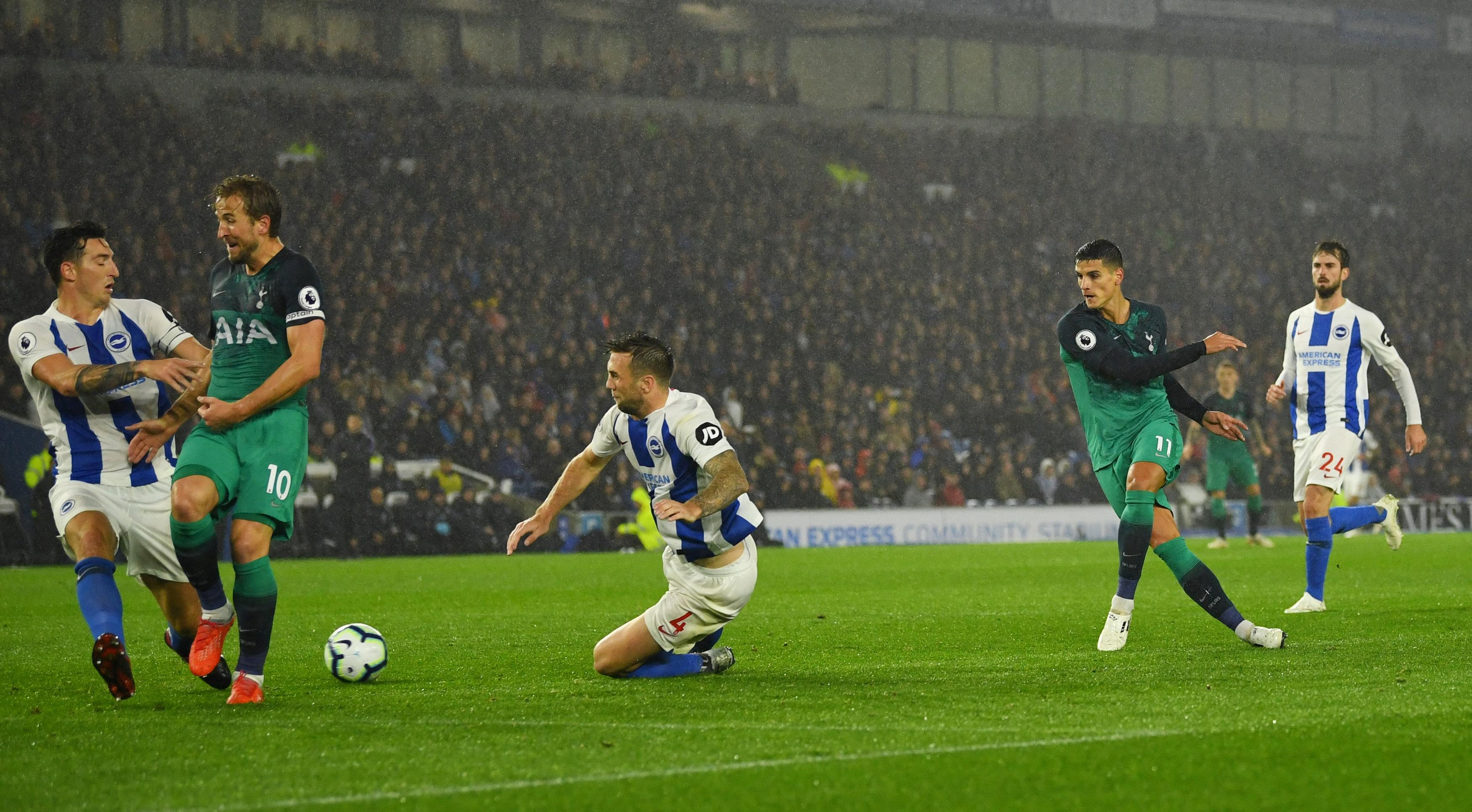Erik Lamela superbly swept home Tottenham's second of the evening
