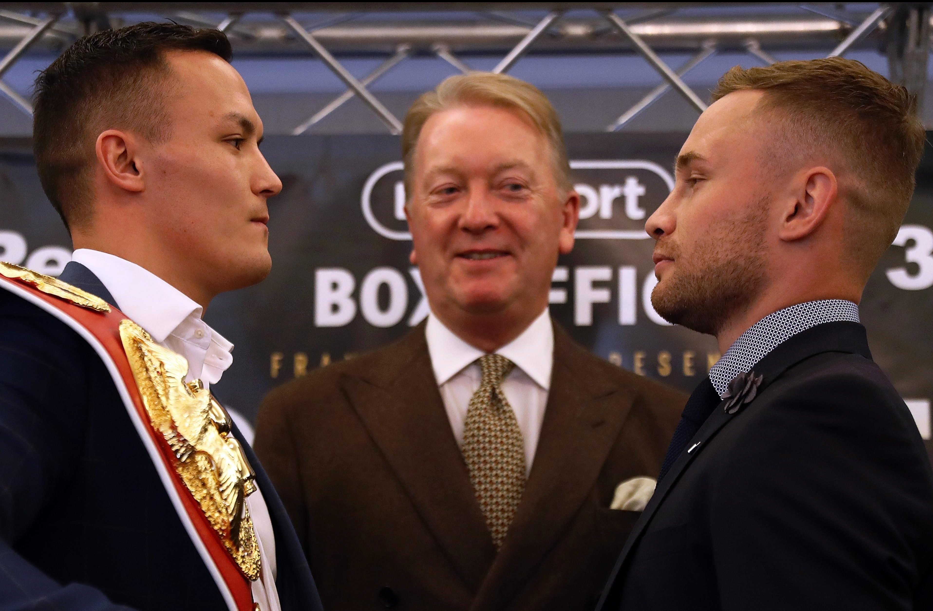 Josh Warrington and Carl Frampton face each other today with promoter Frank Warren
