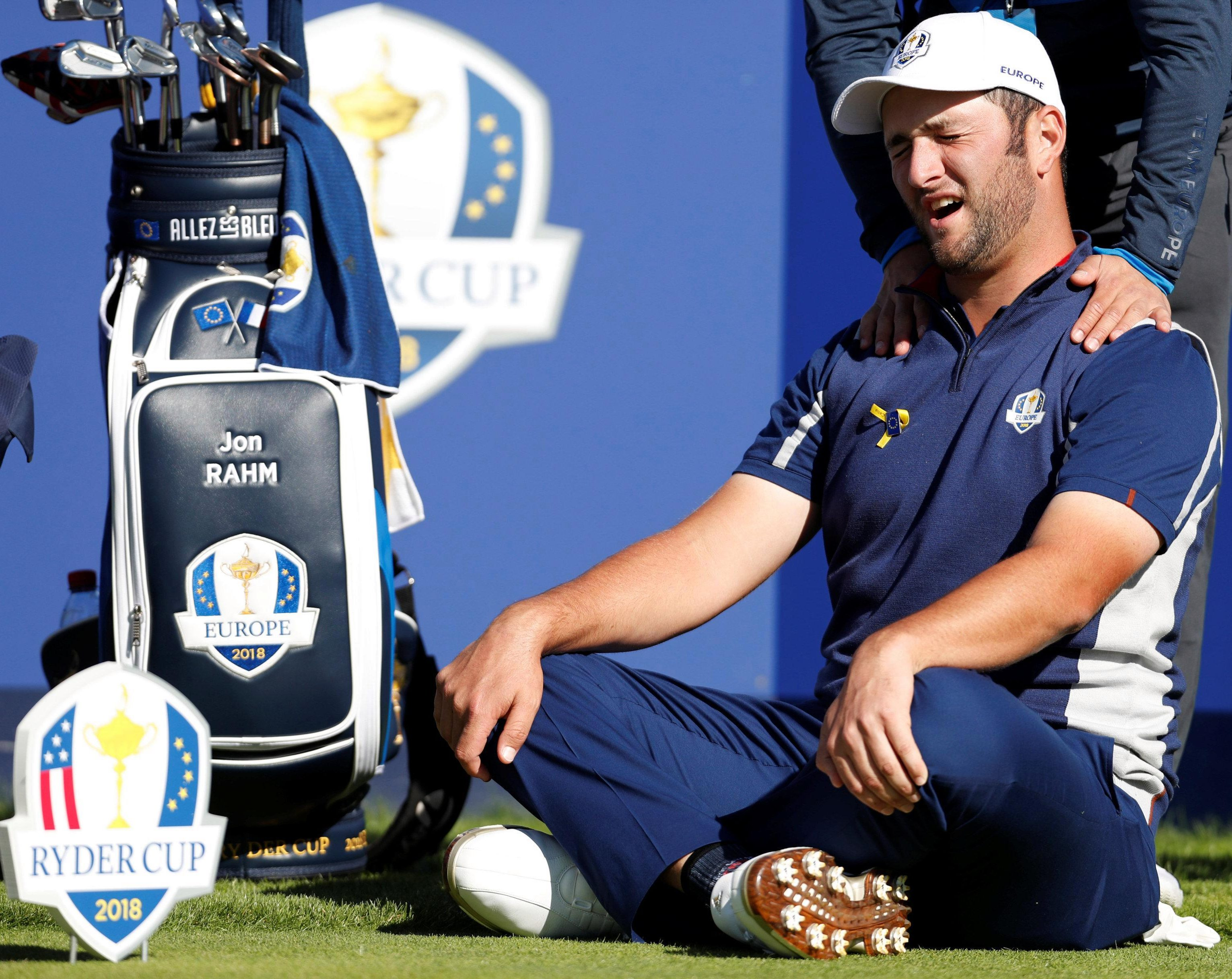 Europe's Jon Rahm takes a breather during practice for the 42nd Ryder Cup