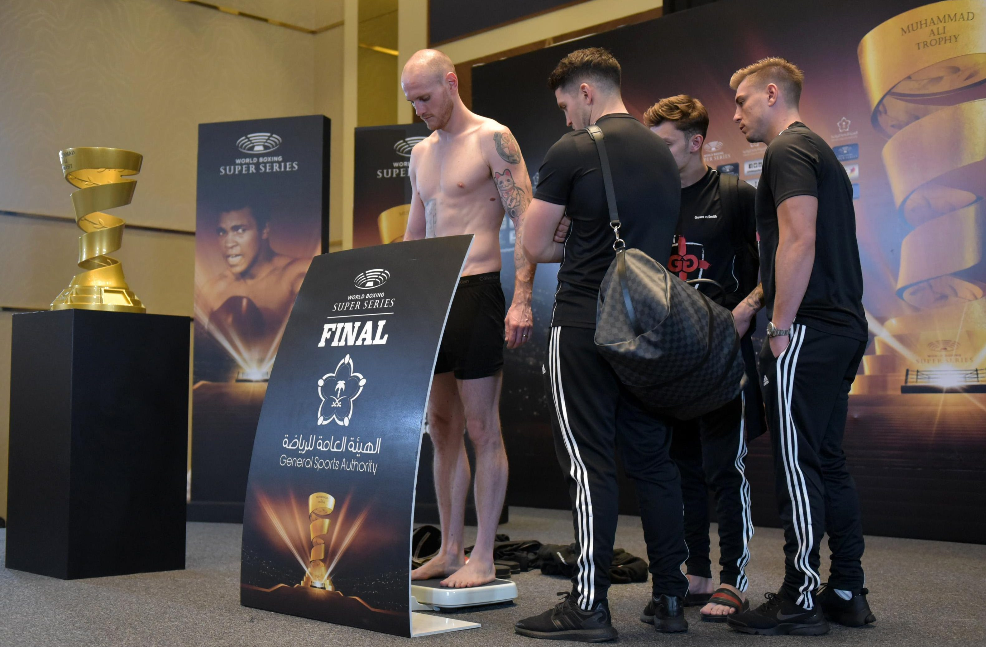Groves, 30, weighed in just inside the 168lbs limit for the World Boxing Super Series final