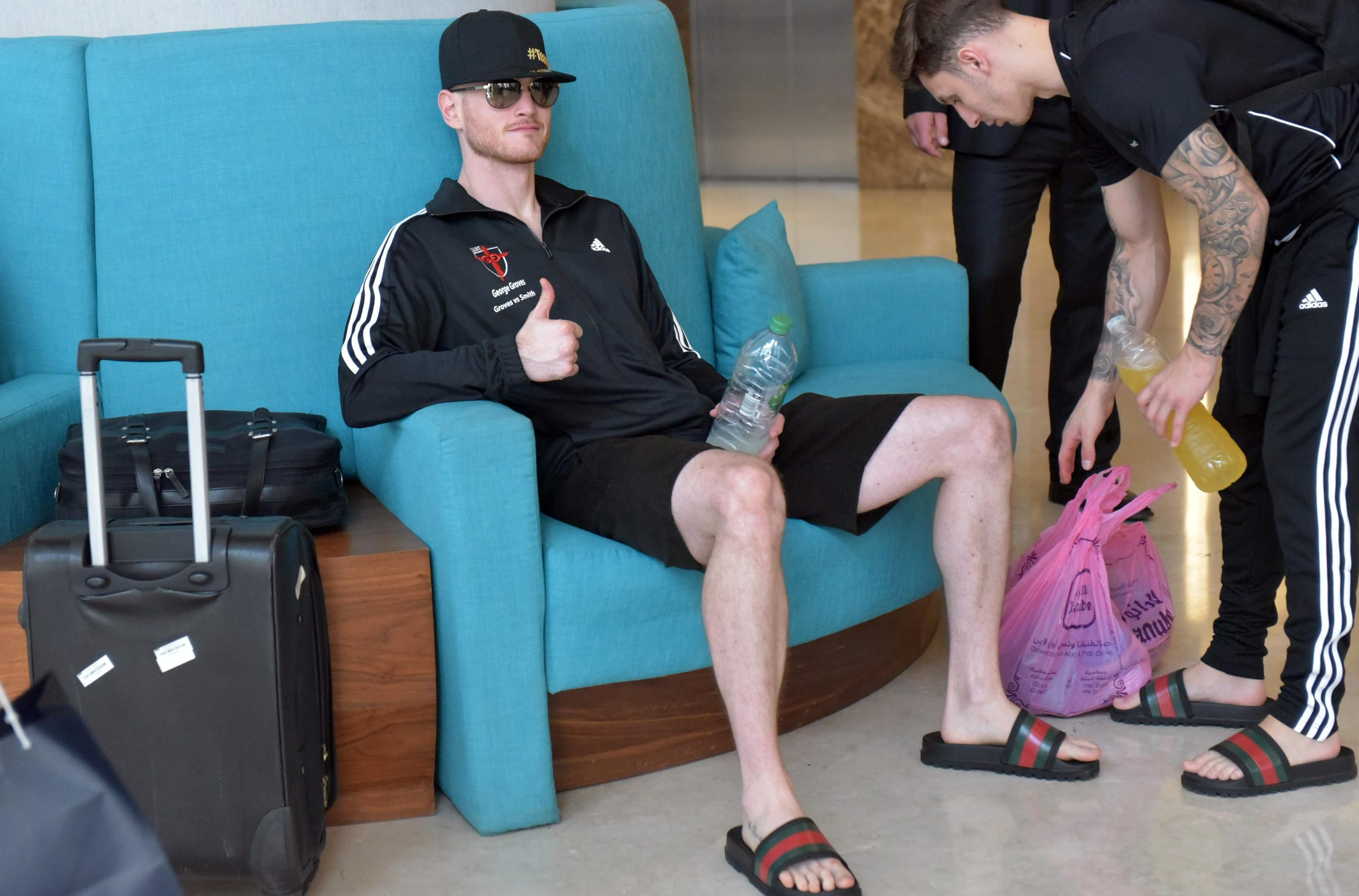 George Groves and his team wear £180 Gucci sliders ahead of his bout against Callum Smith