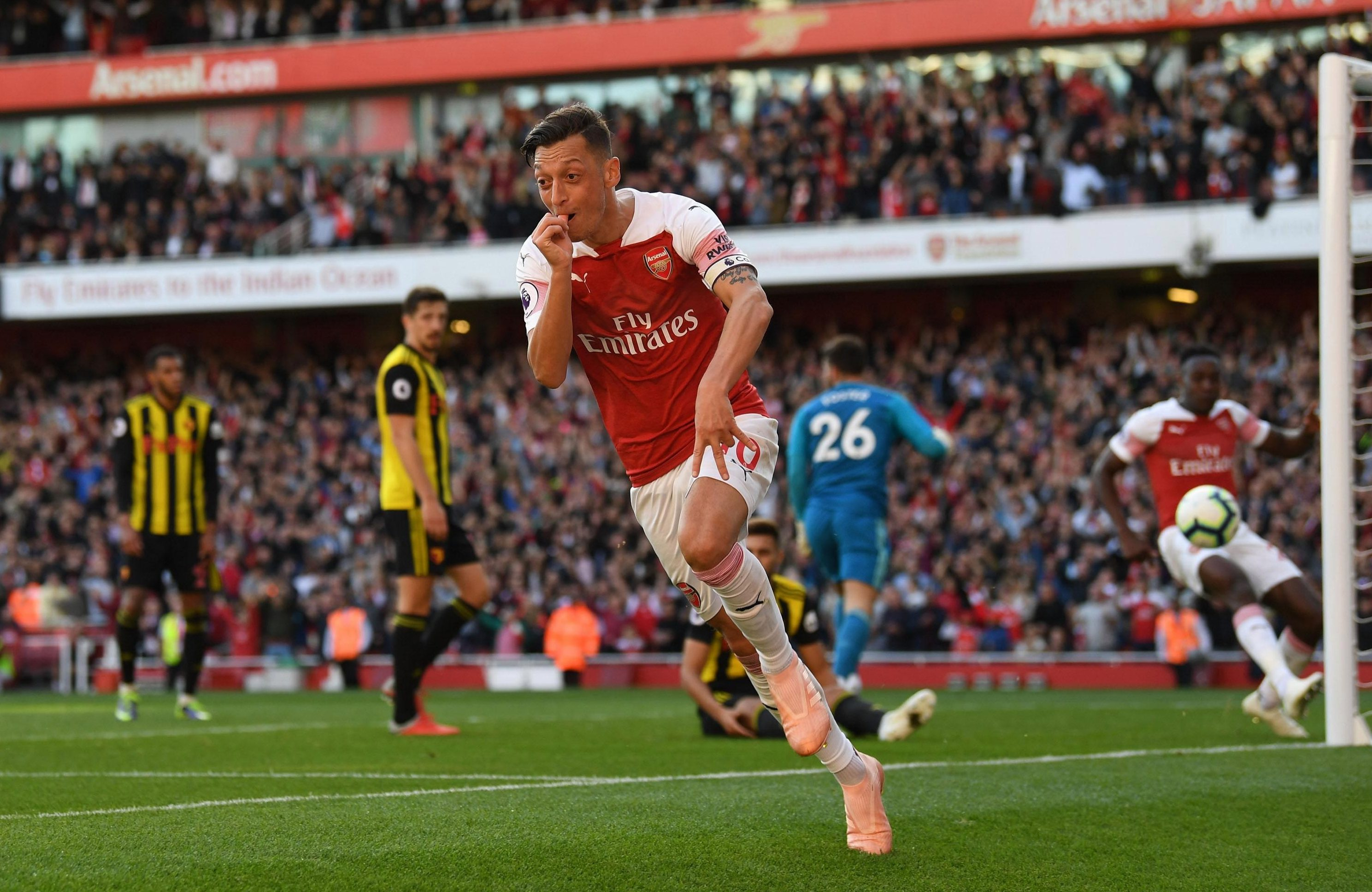 Ozil scored his third goal in four games in the 2-0 win over Watford