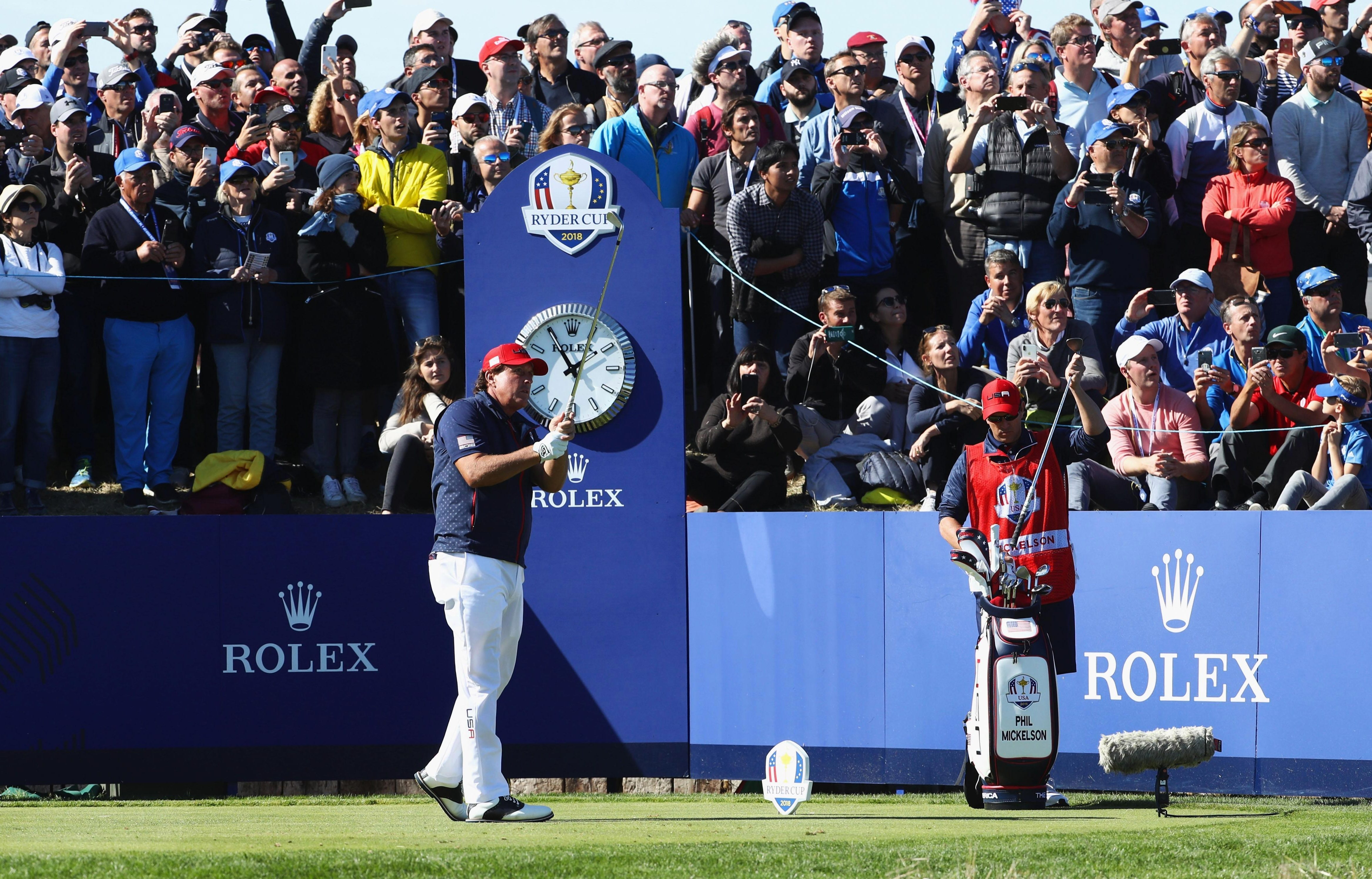 Phil Mickelson drove his tee shot into the water on the 16th before conceding the match to Francesco Molinari