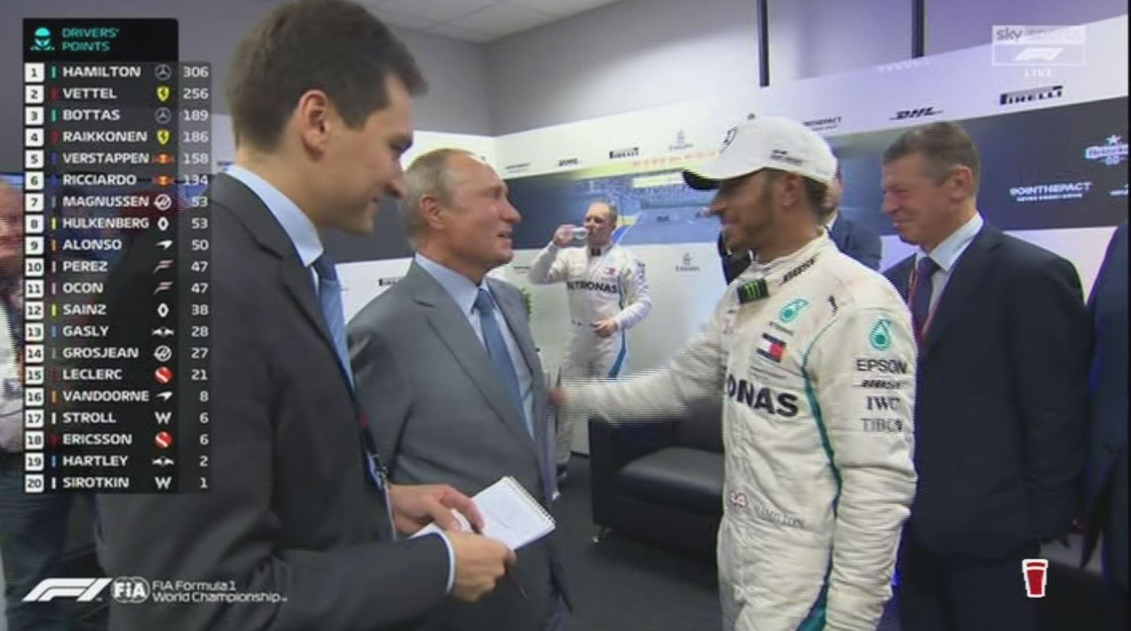 Lewis Hamilton pleads his innocence to the Russian president, saying he didn't do it previously